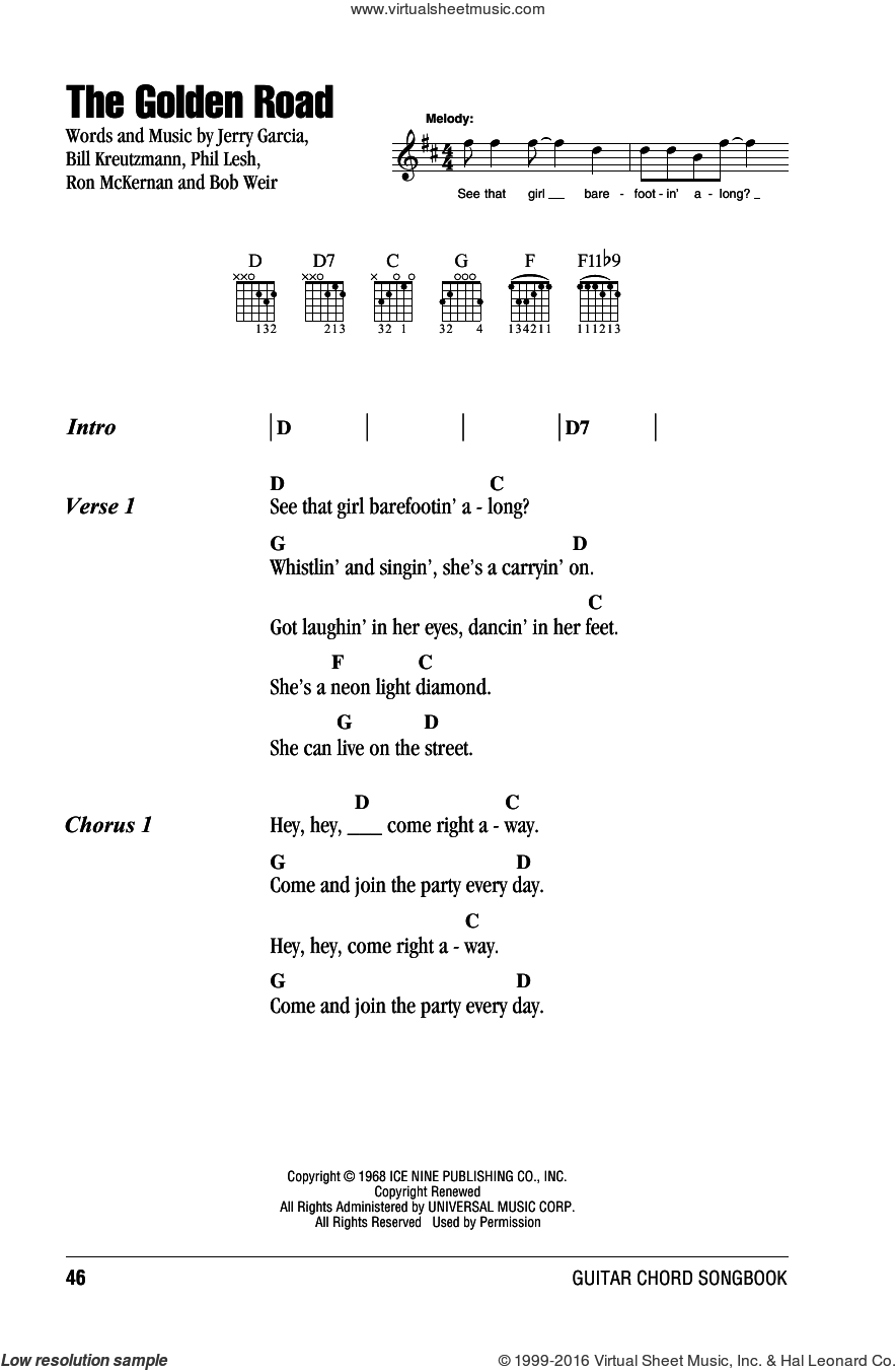 The Golden Road sheet music for guitar (chords) by Grateful Dead. Score Image Preview.