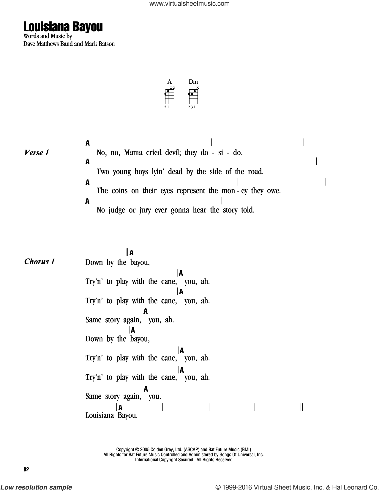 Louisiana Bayou sheet music for ukulele (chords) by Dave Matthews Band and Mark Batson, intermediate. Score Image Preview.