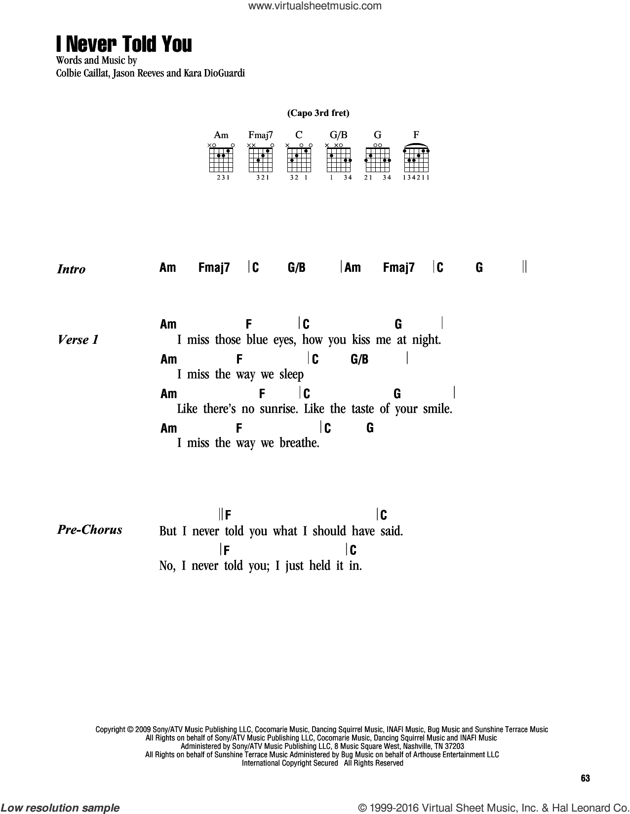 I Never Told You sheet music for guitar (chords) by Colbie Caillat, Jason Reeves and Kara DioGuardi, intermediate. Score Image Preview.