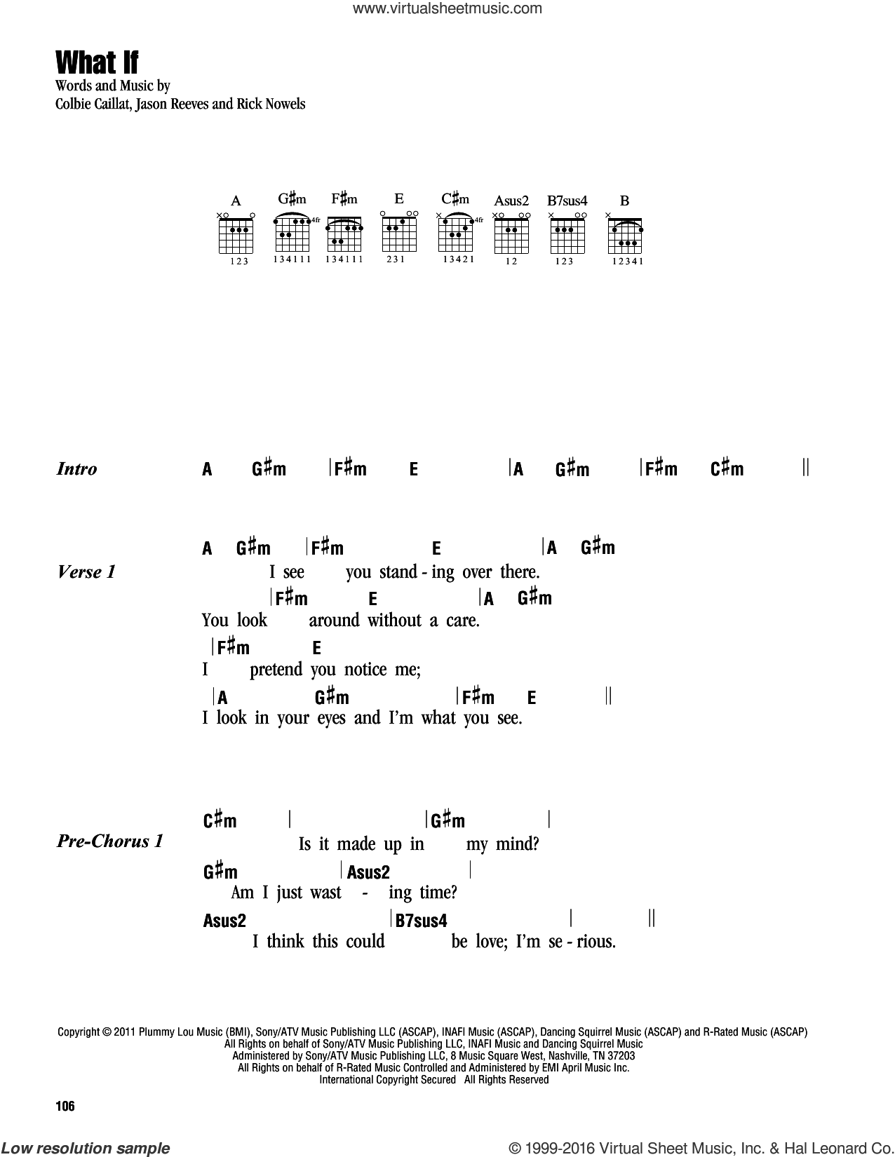 What If sheet music for guitar (chords) by Rick Nowels, Colbie Caillat and Jason Reeves. Score Image Preview.