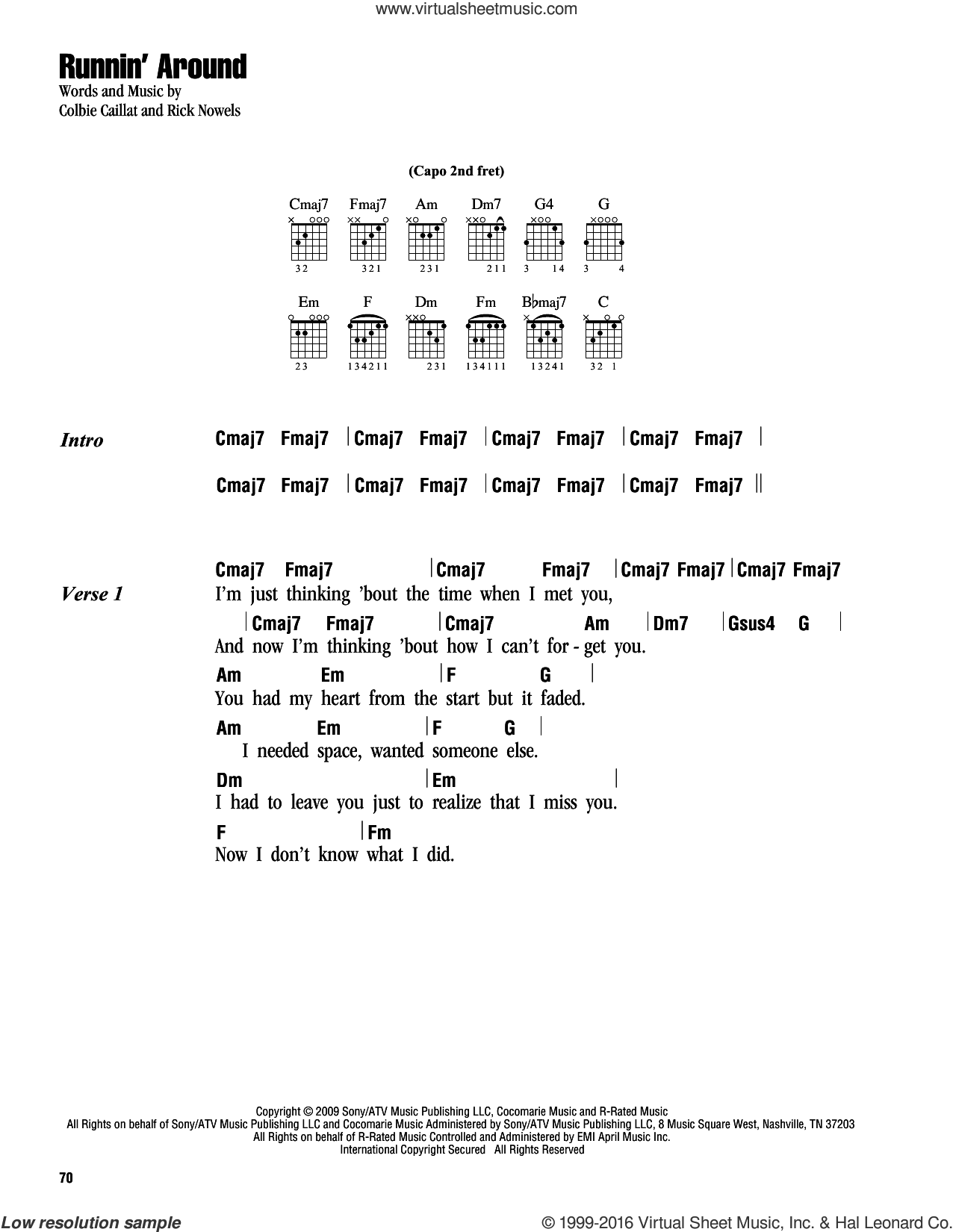 Runnin' Around sheet music for guitar (chords) by Colbie Caillat and Rick Nowels, intermediate. Score Image Preview.