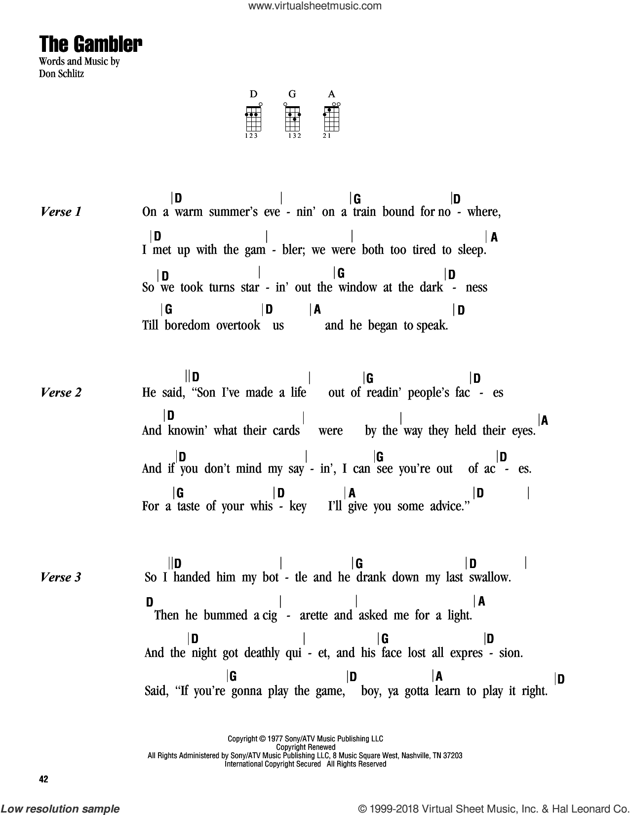 The Gambler sheet music for ukulele (chords) by Kenny Rogers and Don Schlitz, intermediate