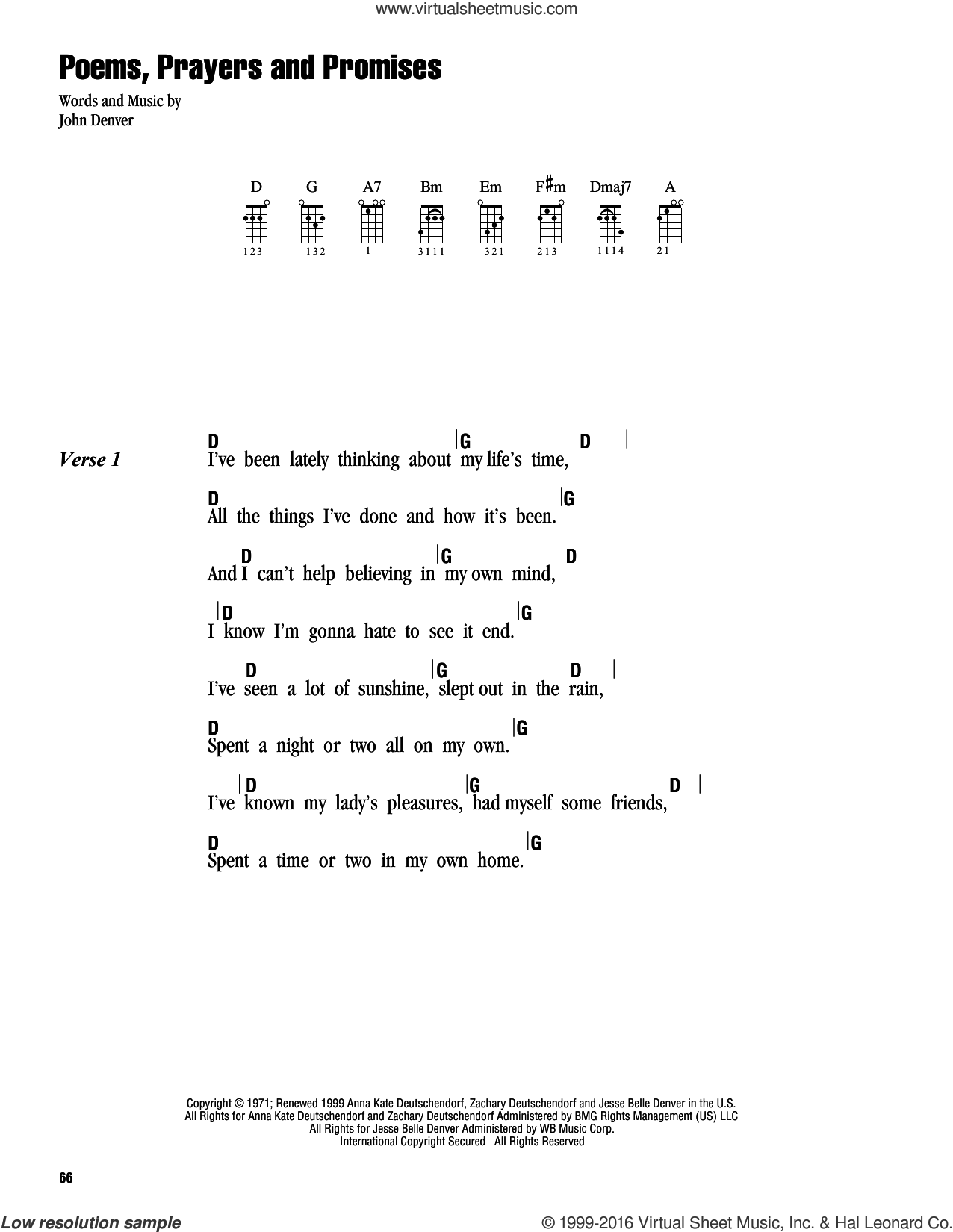 Poems, Prayers And Promises sheet music for ukulele (chords) by John Denver. Score Image Preview.