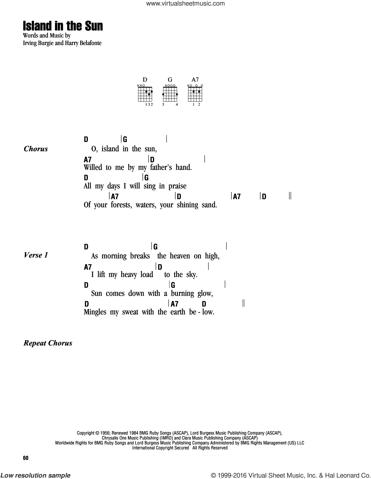 Belafonte Island In The Sun Sheet Music For Guitar Chords