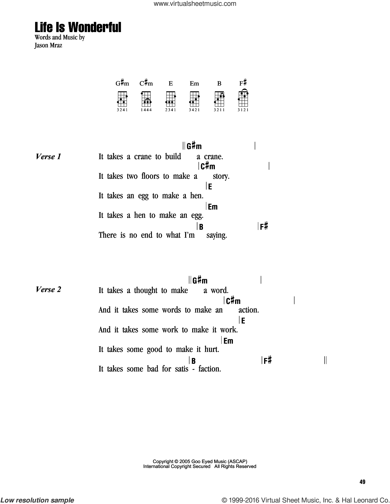 Life Is Wonderful sheet music for ukulele (chords) by Jason Mraz. Score Image Preview.