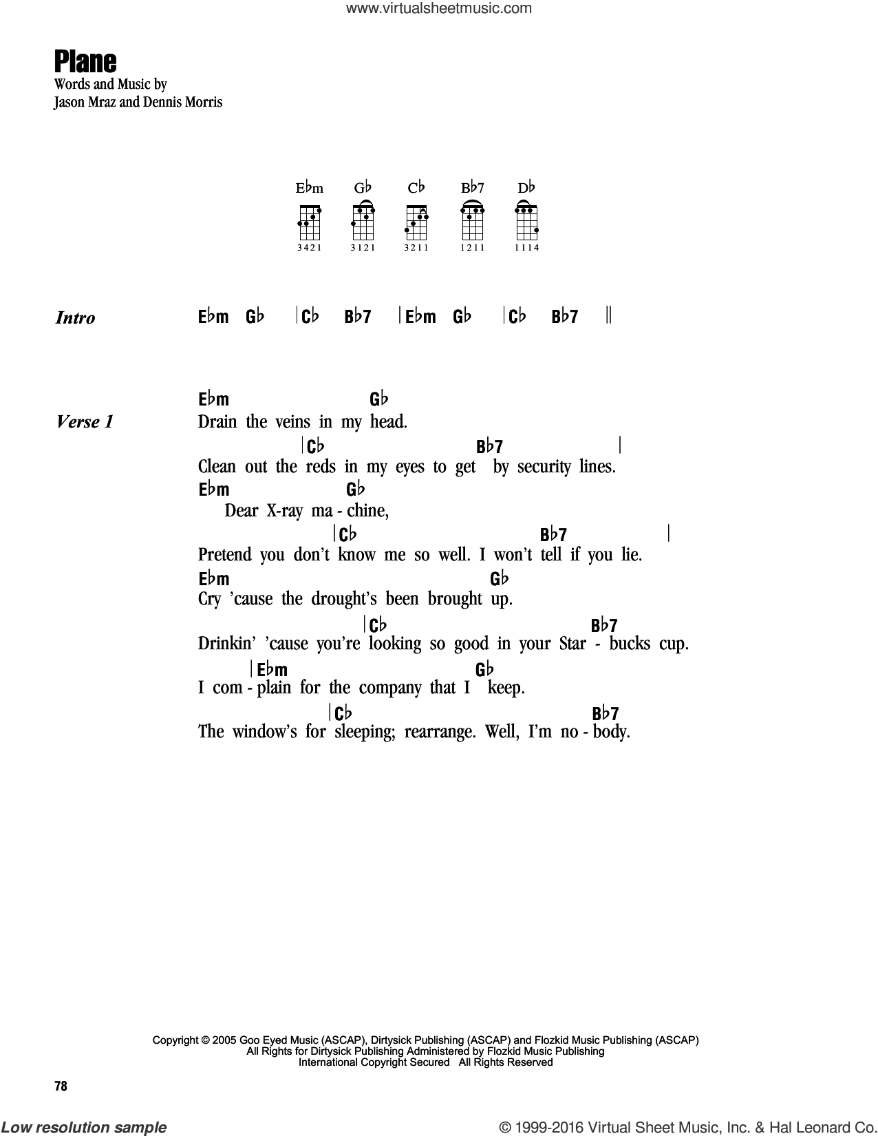 Plane sheet music for ukulele (chords) by Jason Mraz and Dennis Morris, intermediate