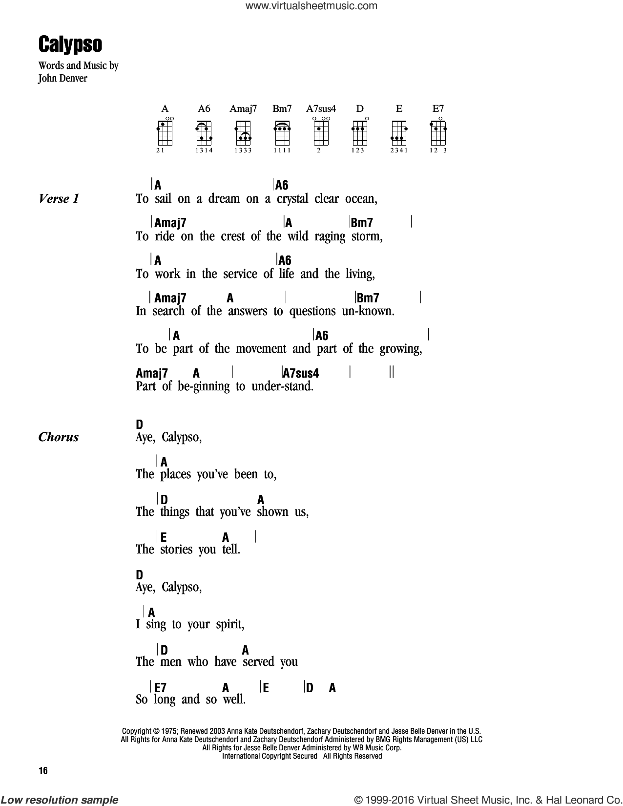 Calypso sheet music for ukulele (chords) by John Denver, intermediate. Score Image Preview.