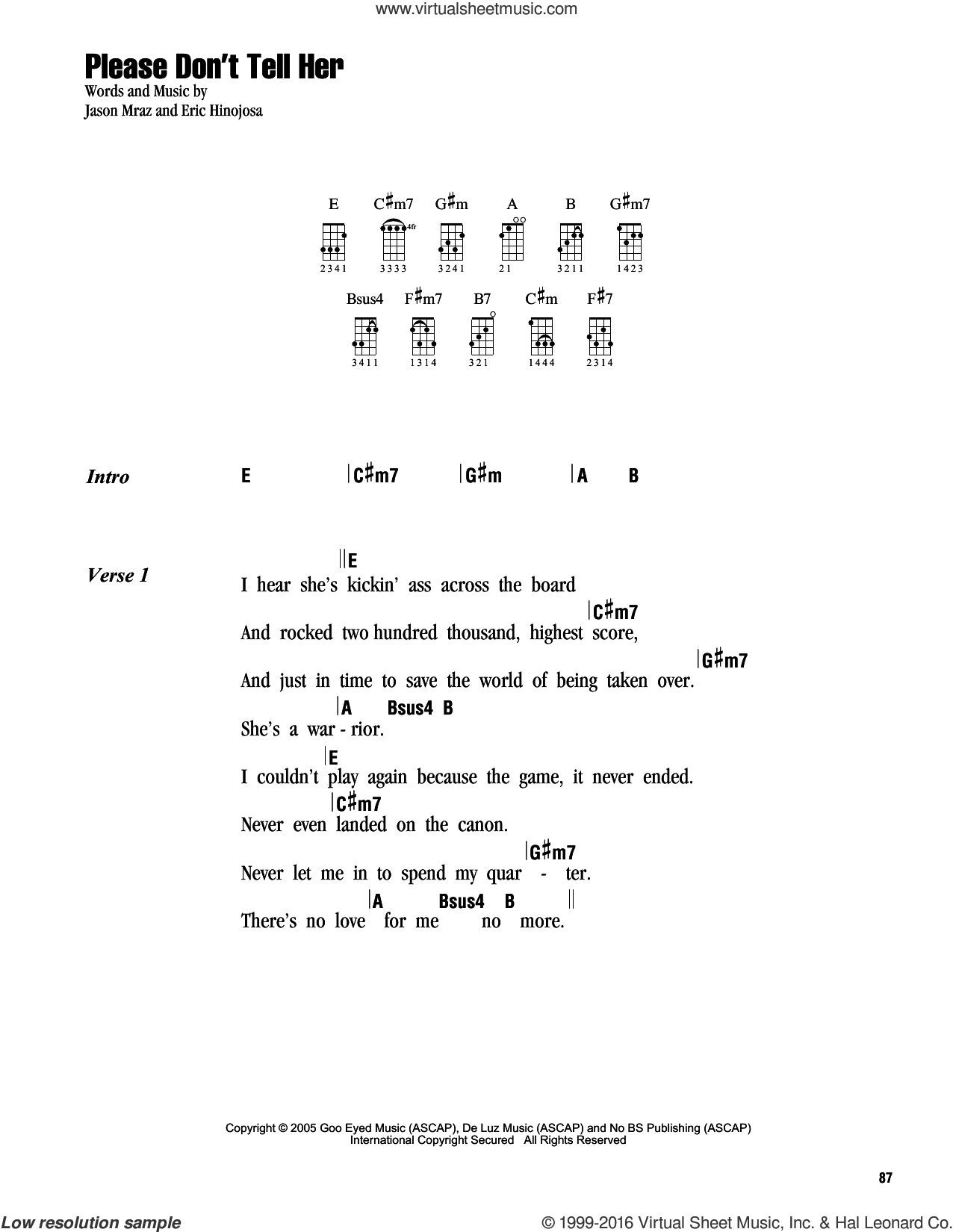 Please Don't Tell Her sheet music for ukulele (chords) by Jason Mraz, intermediate. Score Image Preview.