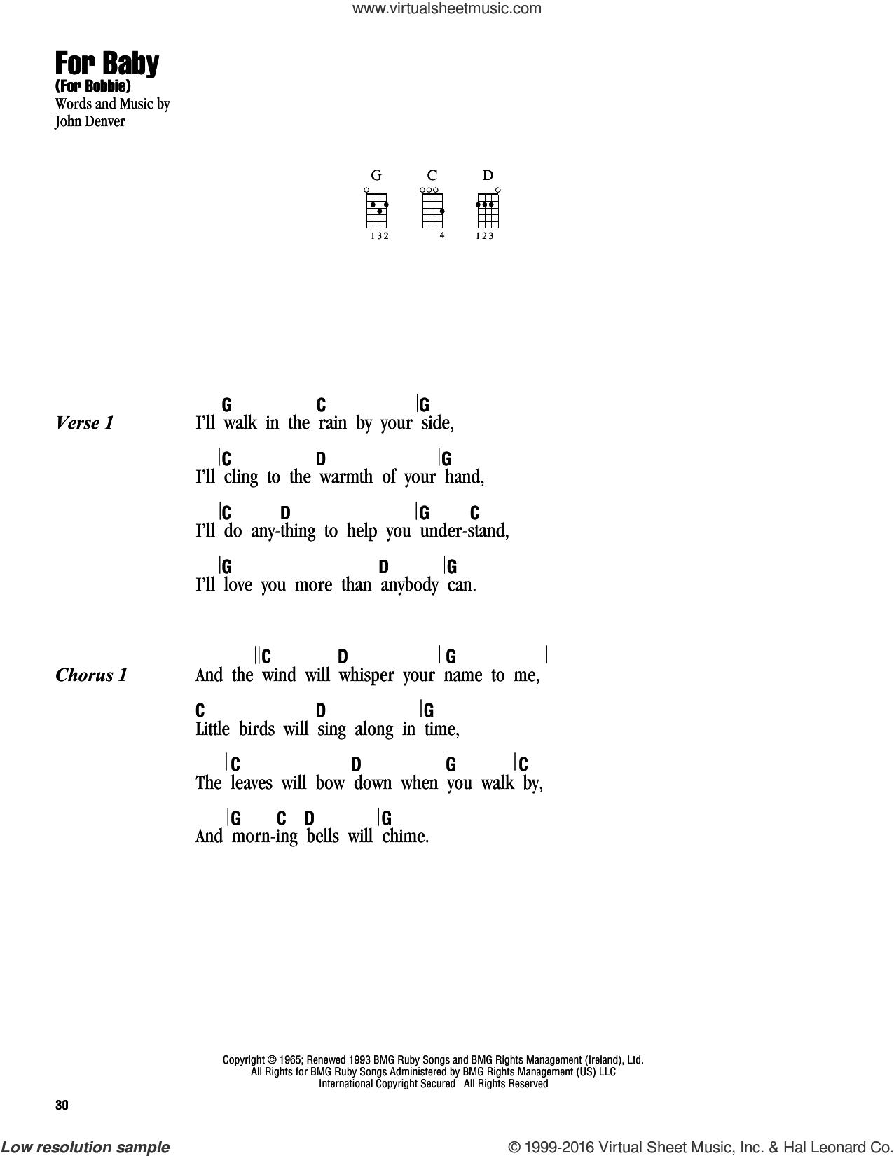 For Baby (For Bobbie) sheet music for ukulele (chords) by John Denver, intermediate skill level