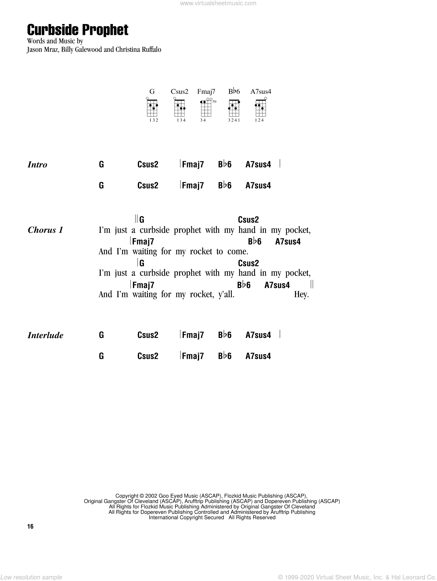 Curbside Prophet sheet music for ukulele (chords) by Jason Mraz, Bill Galewood and Christina Ruffalo, intermediate