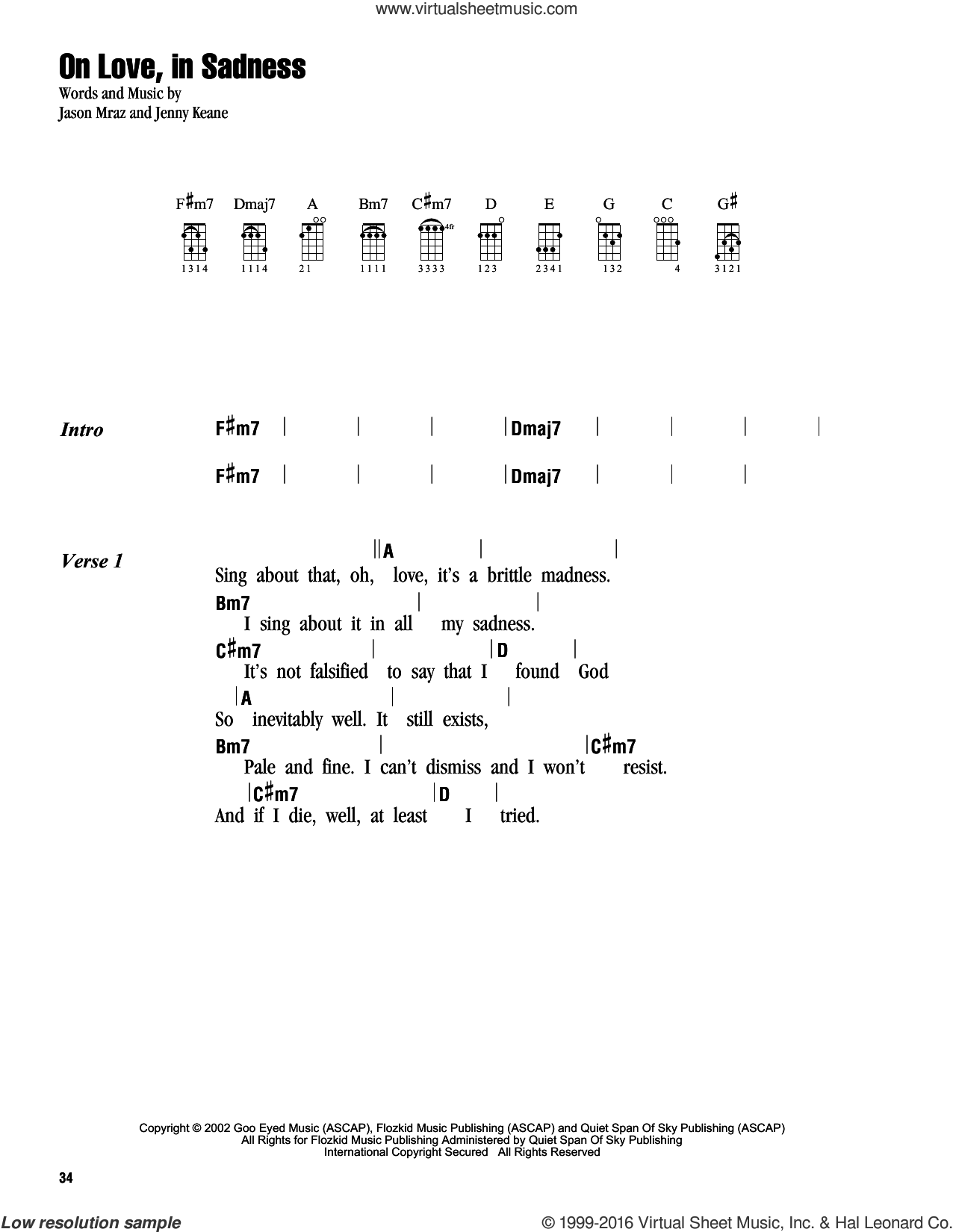On Love, In Sadness sheet music for ukulele (chords) by Jenny Keane and Jason Mraz. Score Image Preview.