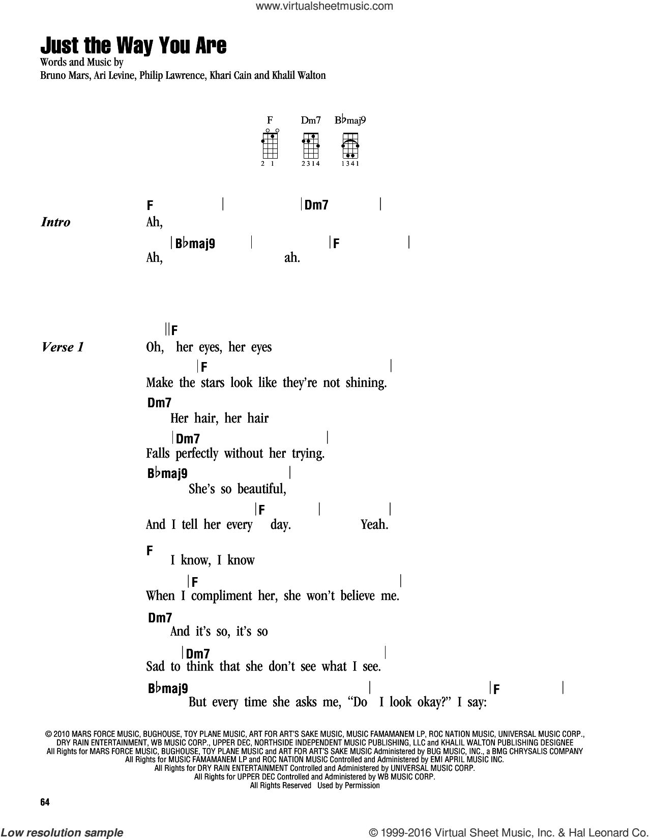 Just The Way You Are sheet music for ukulele (chords) by Bruno Mars, Ari Levine, Khalil Walton, Khari Cain and Philip Lawrence, intermediate skill level