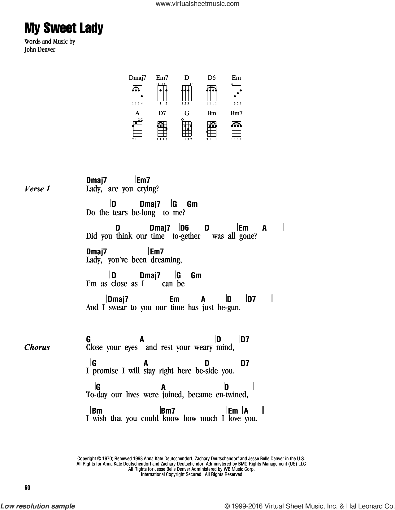 My Sweet Lady sheet music for ukulele (chords) by John Denver. Score Image Preview.