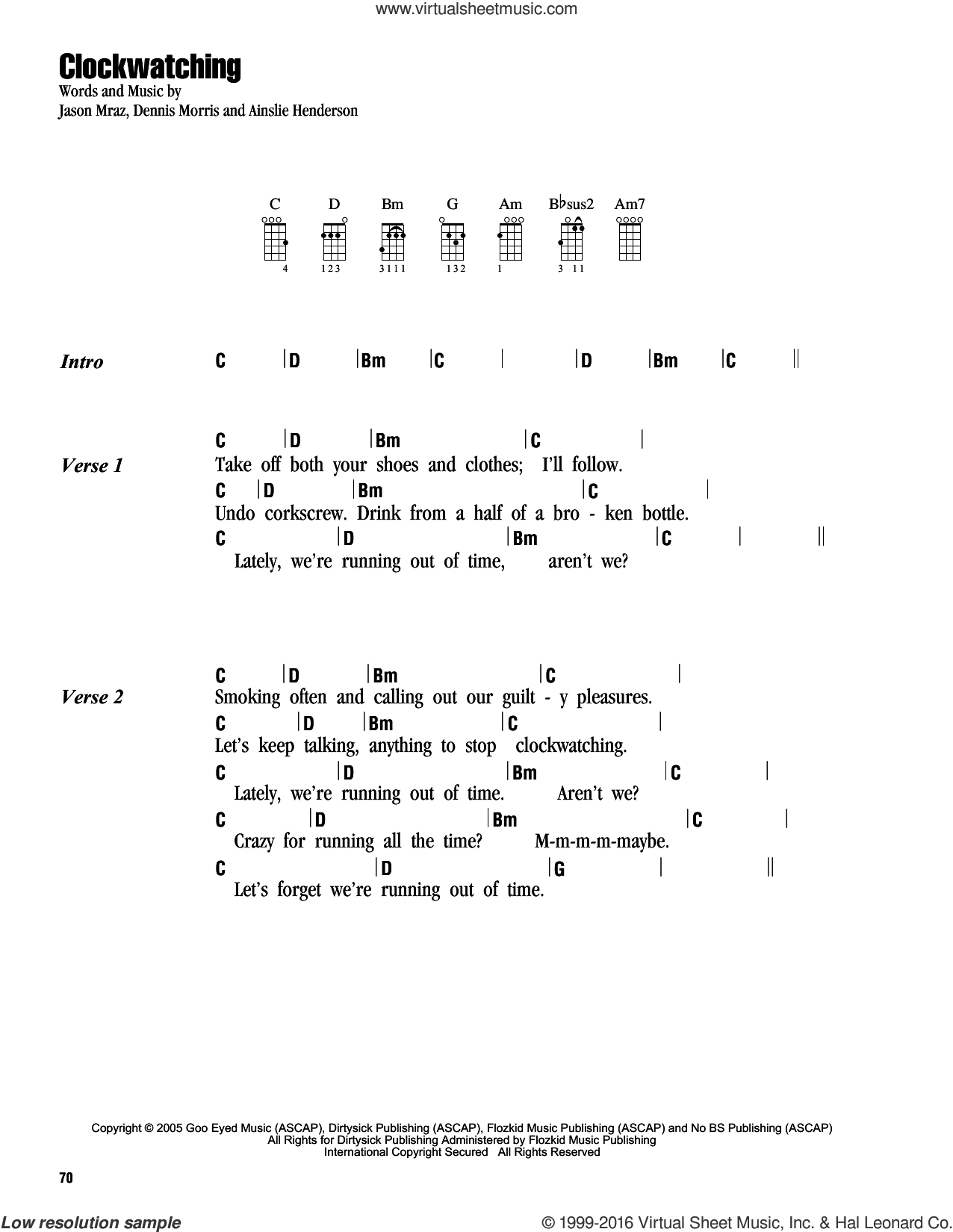 Clockwatching sheet music for ukulele (chords) by Dennis Morris and Jason Mraz. Score Image Preview.