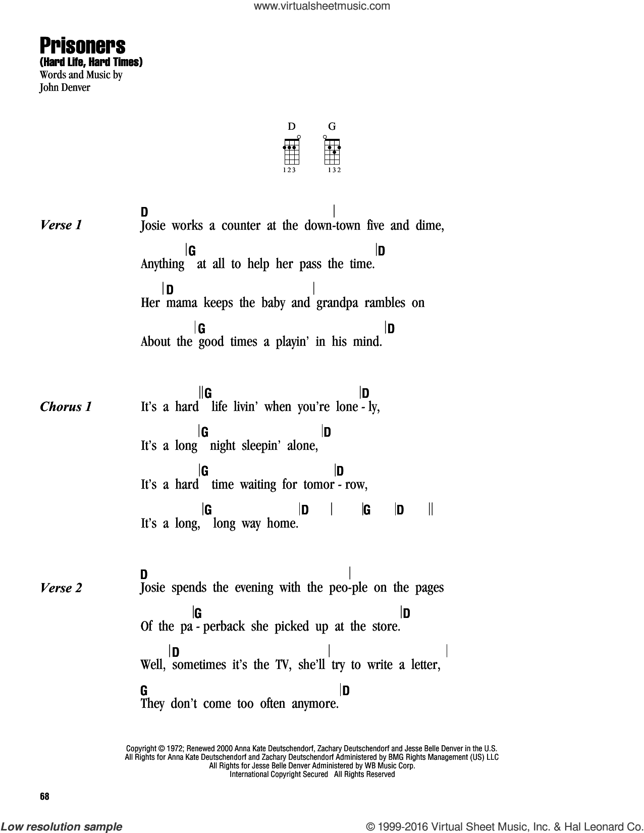 Prisoners (Hard Life, Hard Times) sheet music for ukulele (chords) by John Denver, intermediate. Score Image Preview.