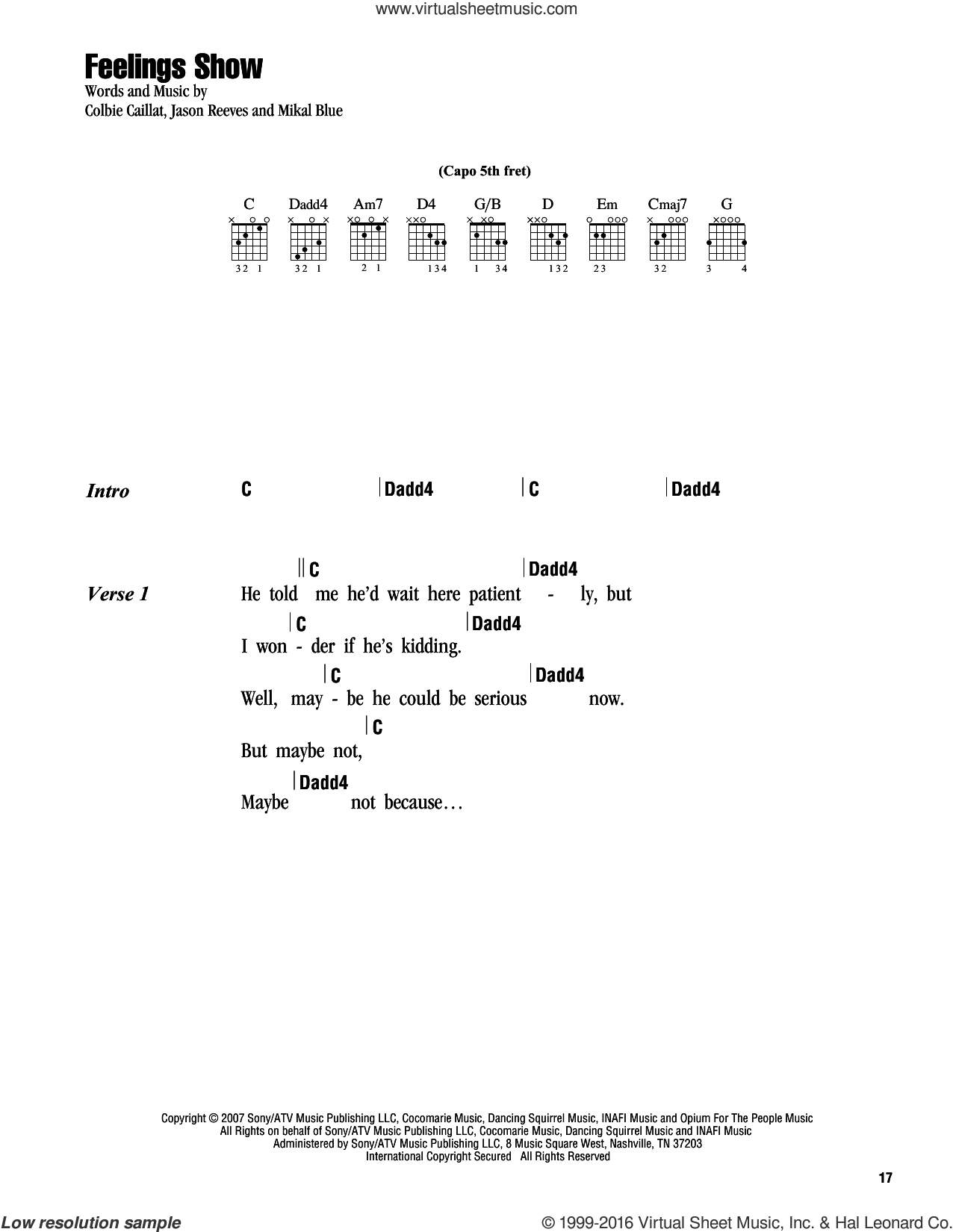 Feelings Show sheet music for guitar (chords) by Colbie Caillat, Jason Reeves and Mikal Blue, intermediate skill level