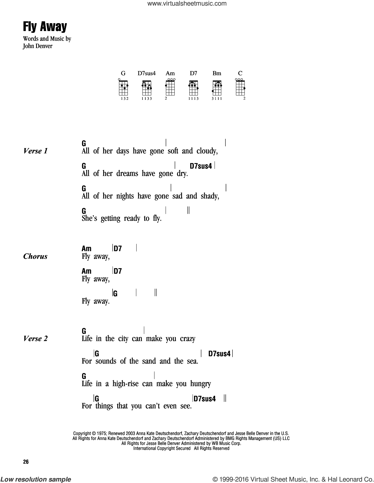 Fly Away sheet music for ukulele (chords) by John Denver, intermediate skill level