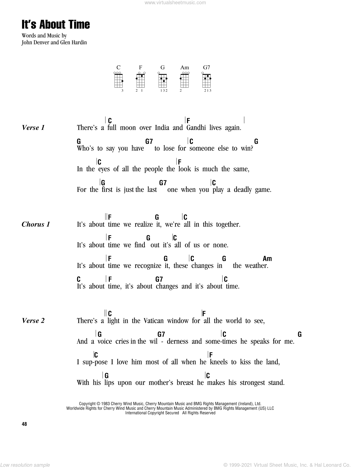 It's About Time sheet music for ukulele (chords) by Glen Hardin and John Denver. Score Image Preview.