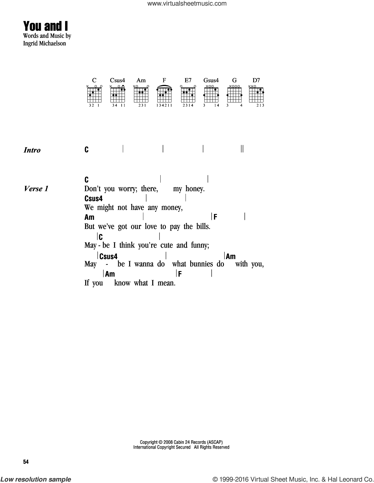 You And I sheet music for guitar (chords) by Ingrid Michaelson. Score Image Preview.