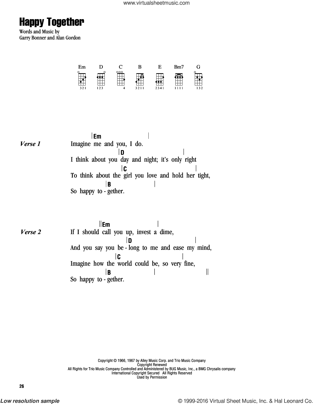 Happy Together sheet music for ukulele (chords) by Garry Bonner, The Turtles and Alan Gordon. Score Image Preview.