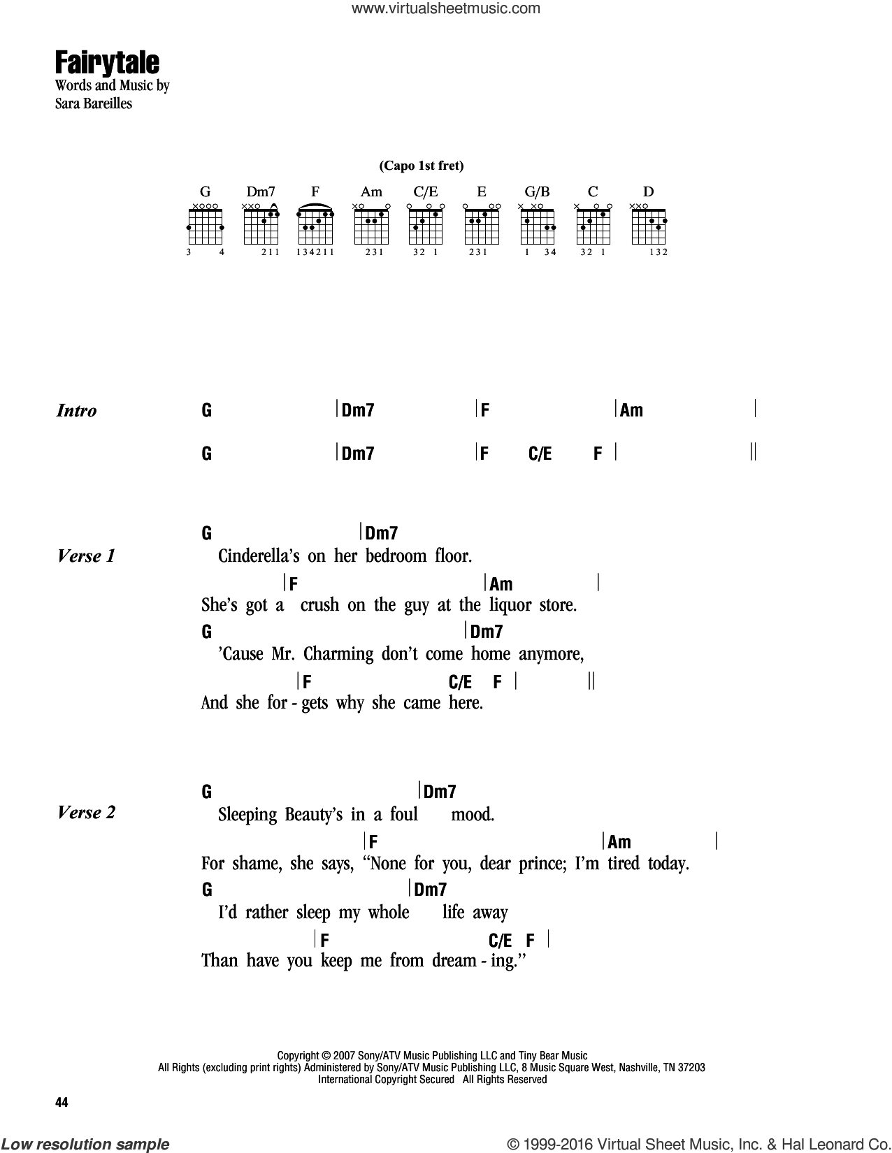 Fairytale Sheet Music For Guitar (chords