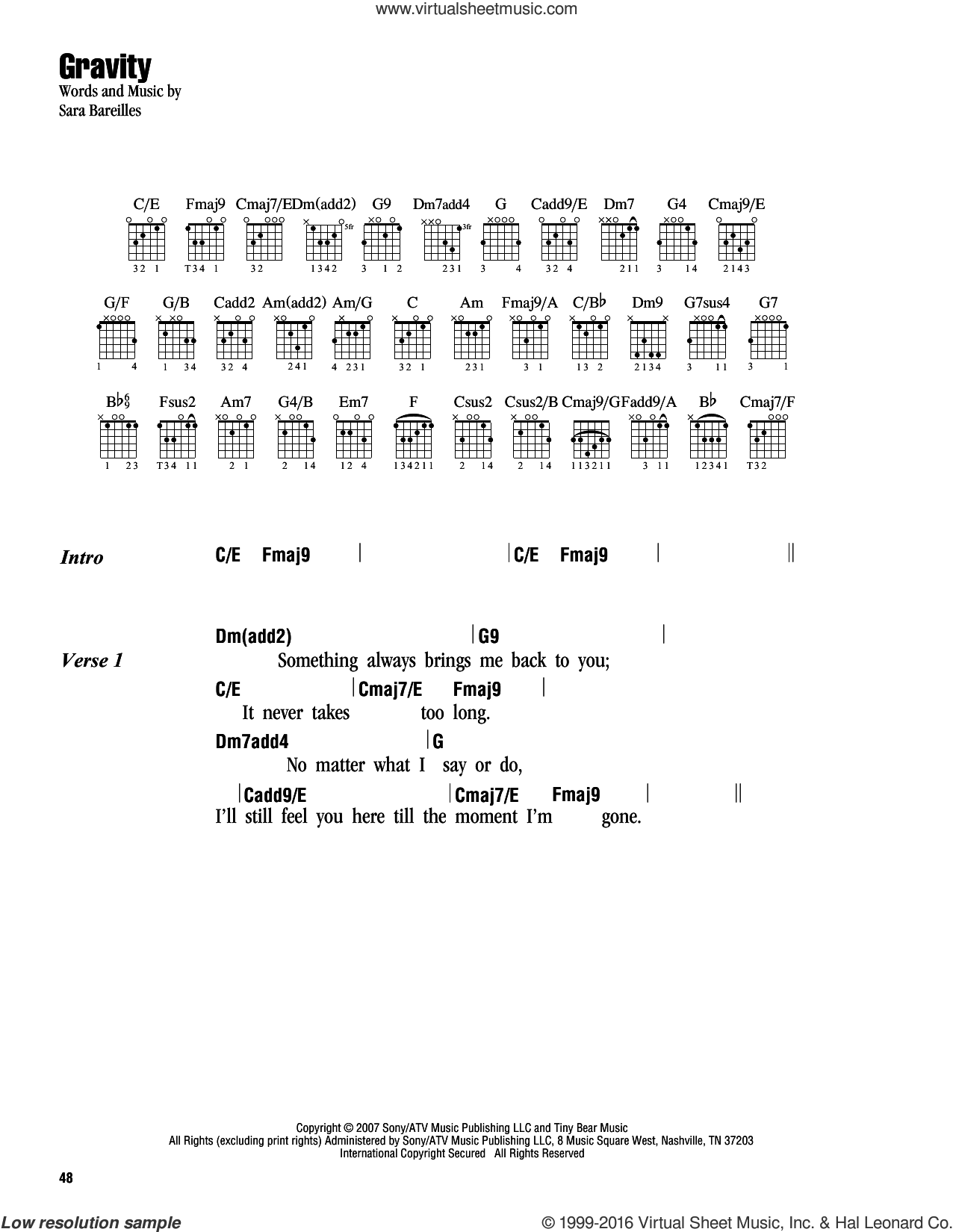 Gravity sheet music for guitar (chords) by Sara Bareilles, intermediate skill level