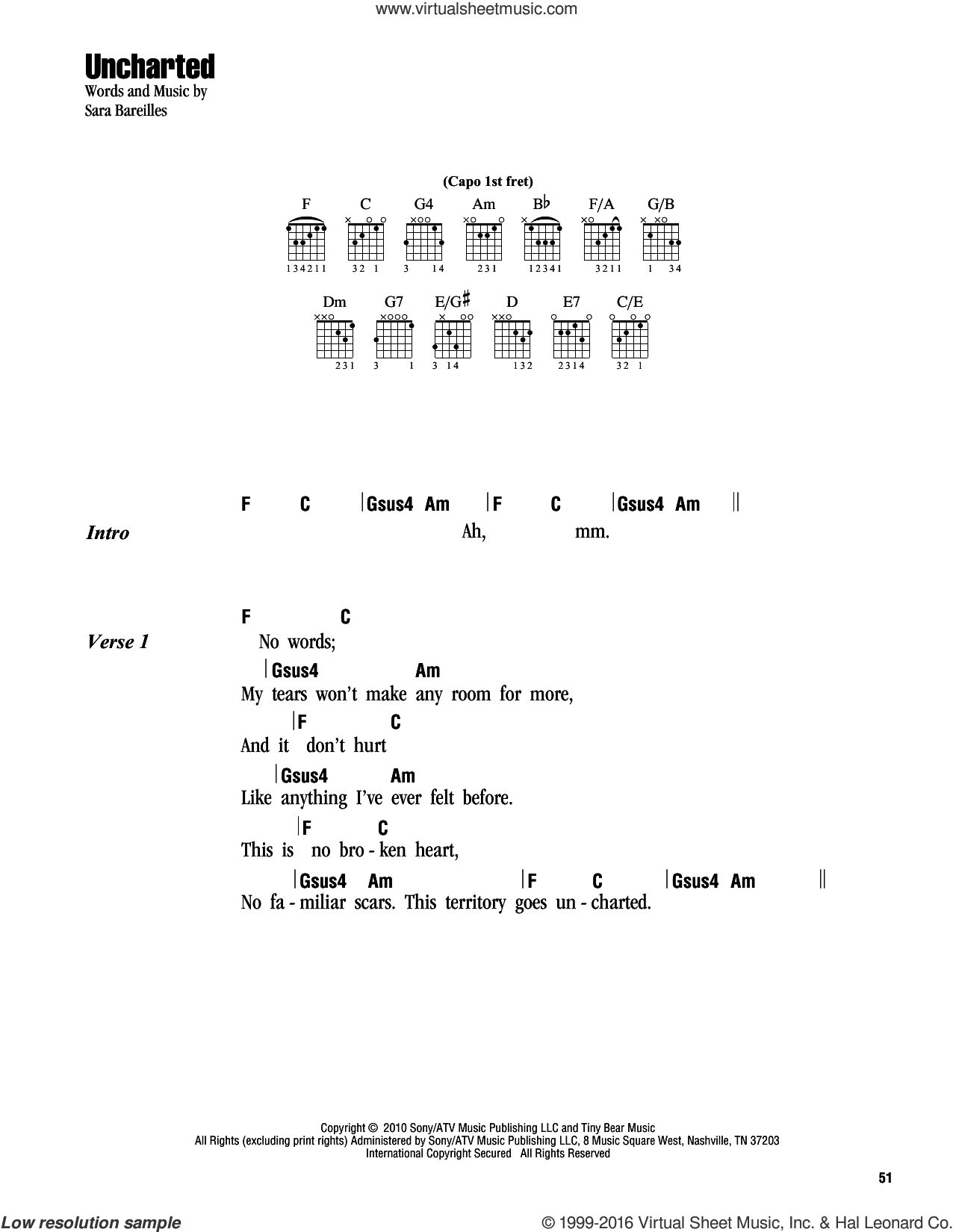 Uncharted sheet music for guitar (chords) by Sara Bareilles. Score Image Preview.