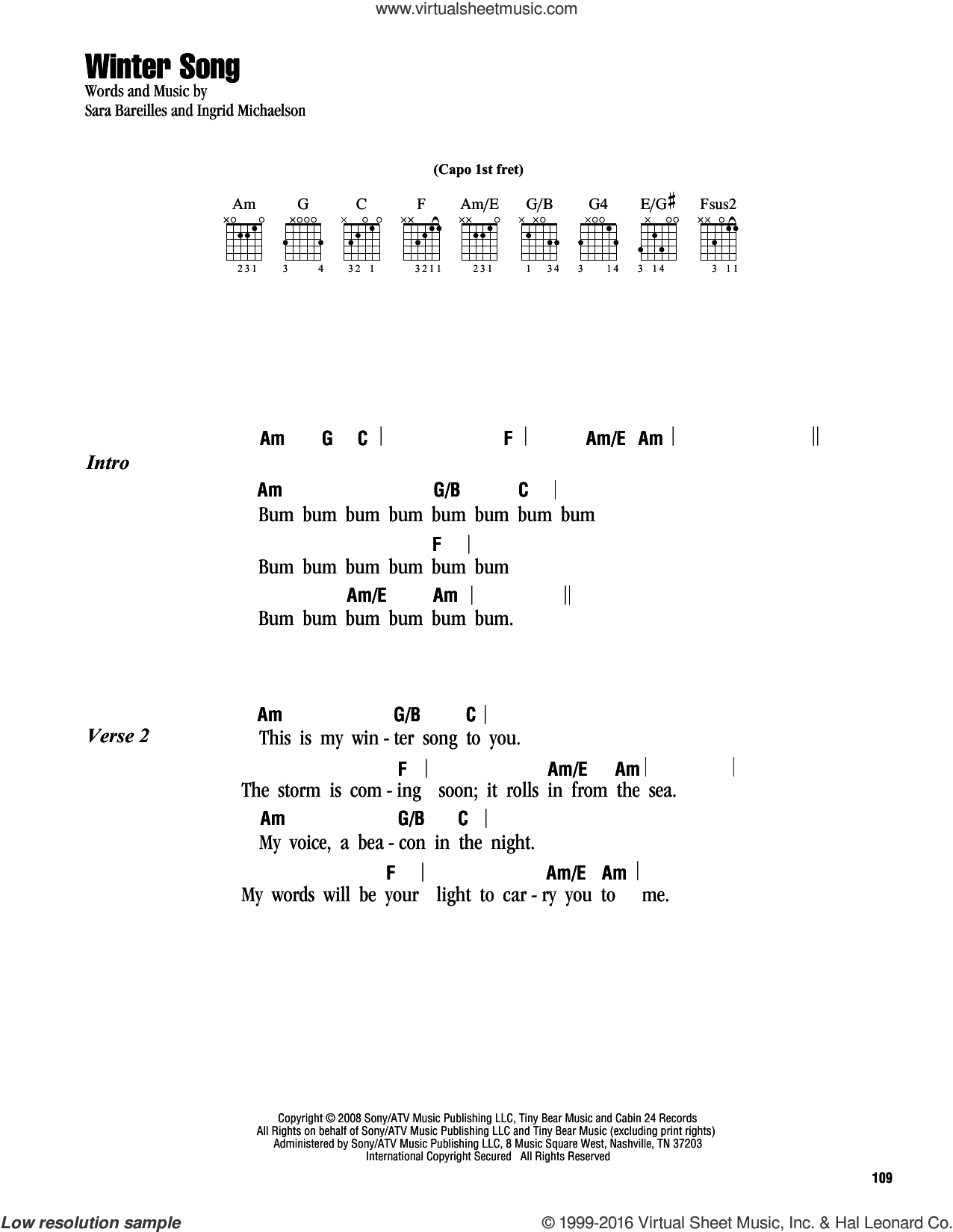 Bareilles Winter Song Sheet Music For Guitar Chords Pdf