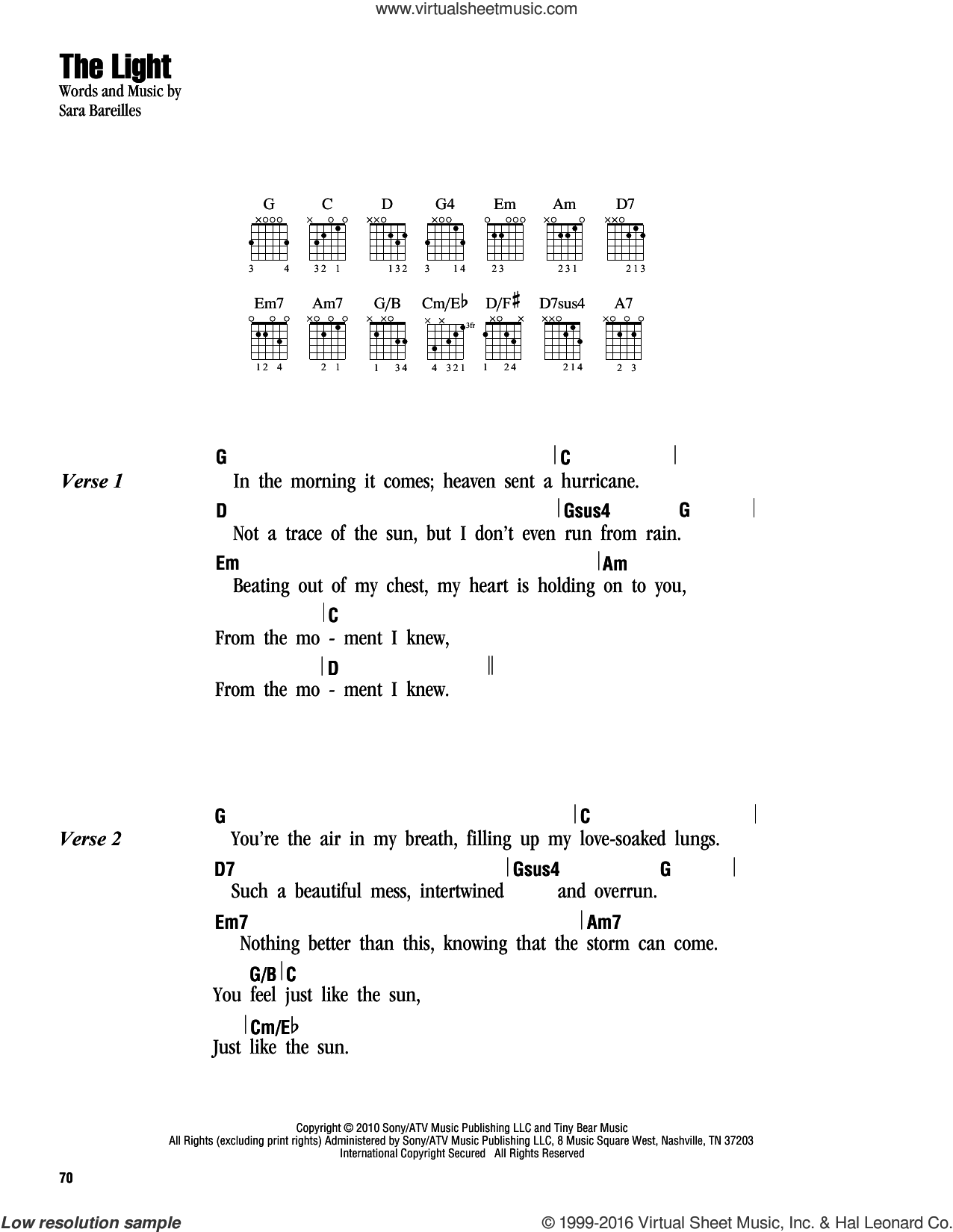 The Light sheet music for guitar (chords) by Sara Bareilles, intermediate skill level