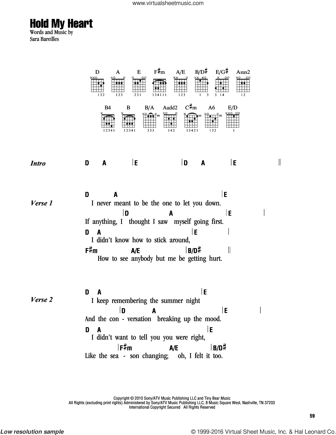 Hold My Heart sheet music for guitar (chords) by Sara Bareilles. Score Image Preview.