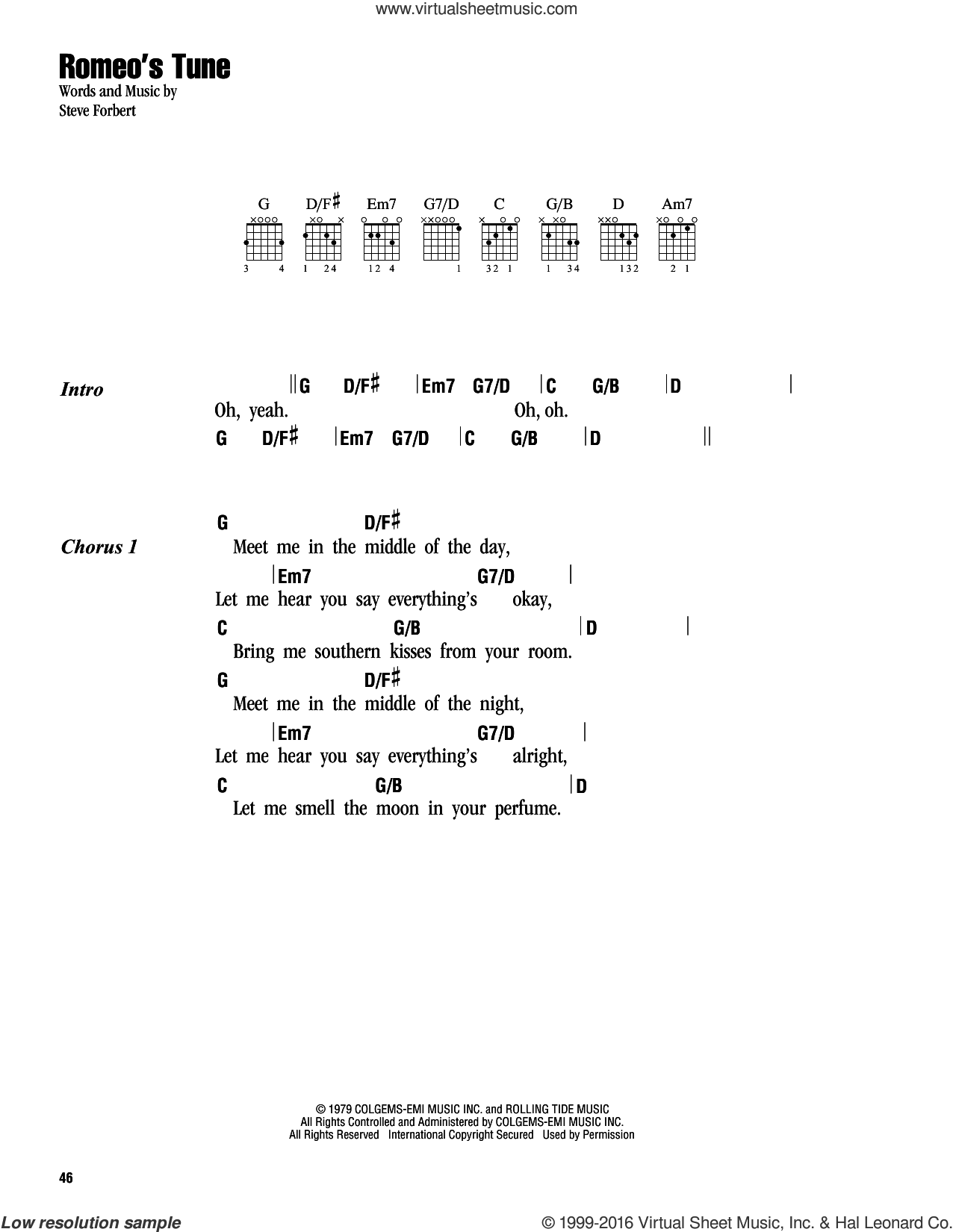 Romeo's Tune sheet music for guitar (chords) by Keith Urban