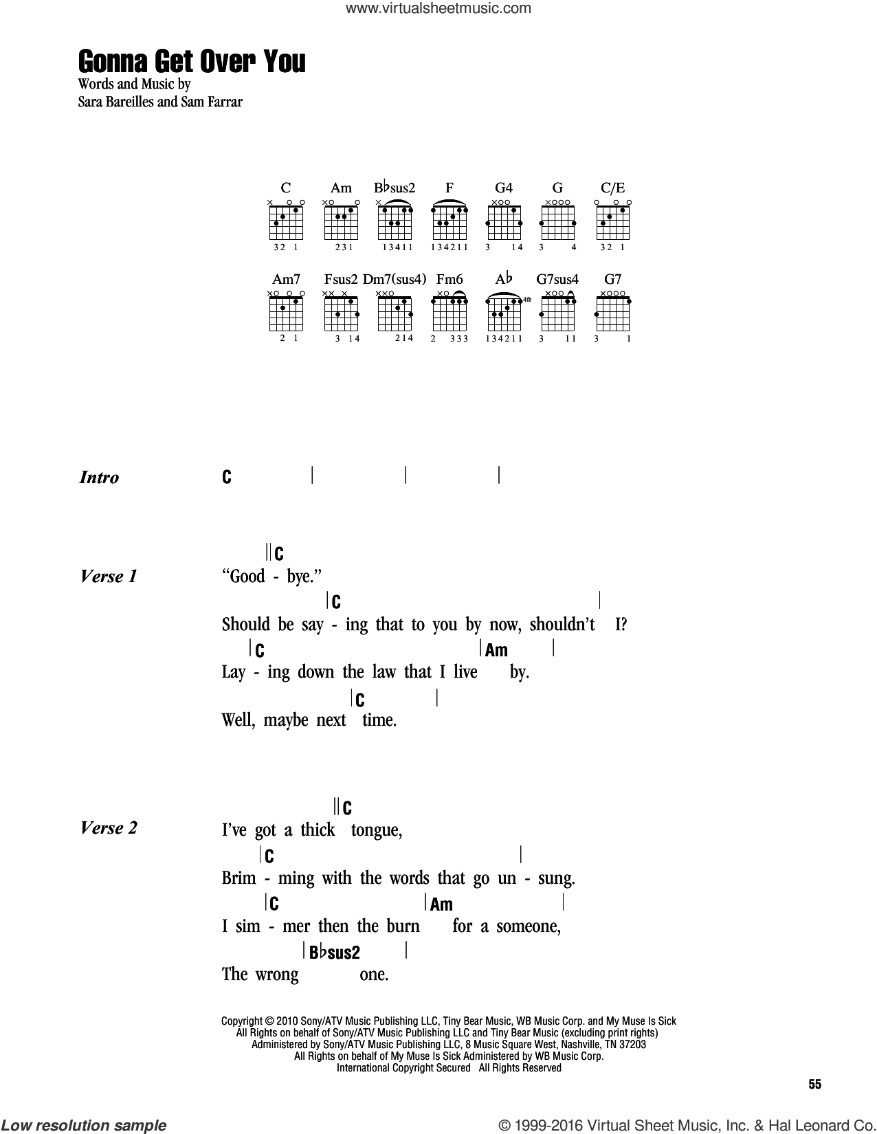 Gonna Get Over You sheet music for guitar (chords) by Sara Bareilles and Sam Farrar. Score Image Preview.