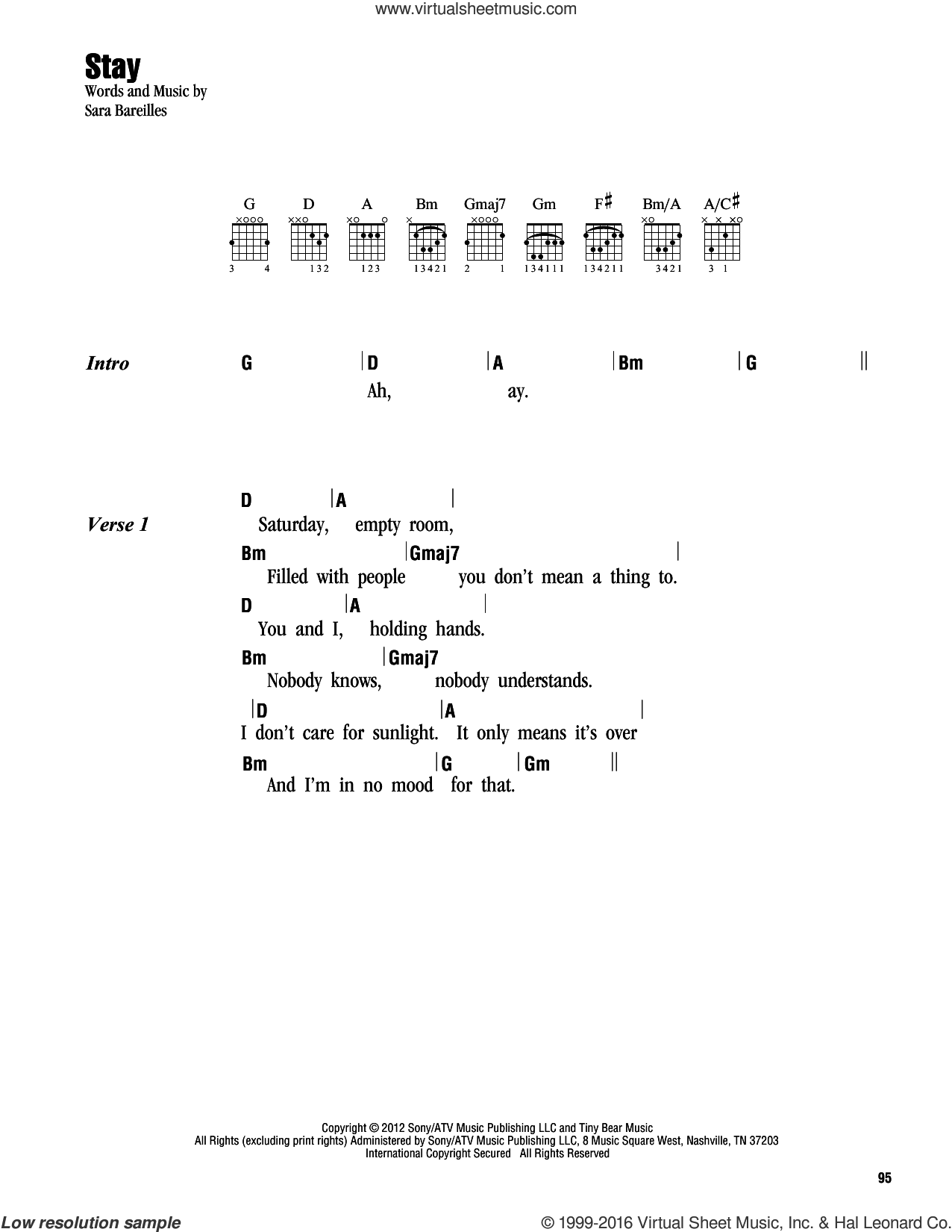 Stay sheet music for guitar (chords) by Sara Bareilles. Score Image Preview.