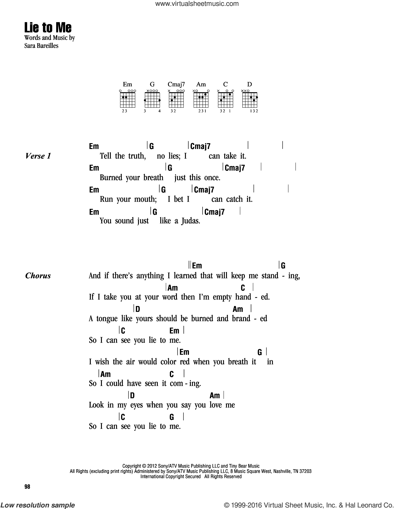Lie To Me sheet music for guitar (chords) by Sara Bareilles. Score Image Preview.