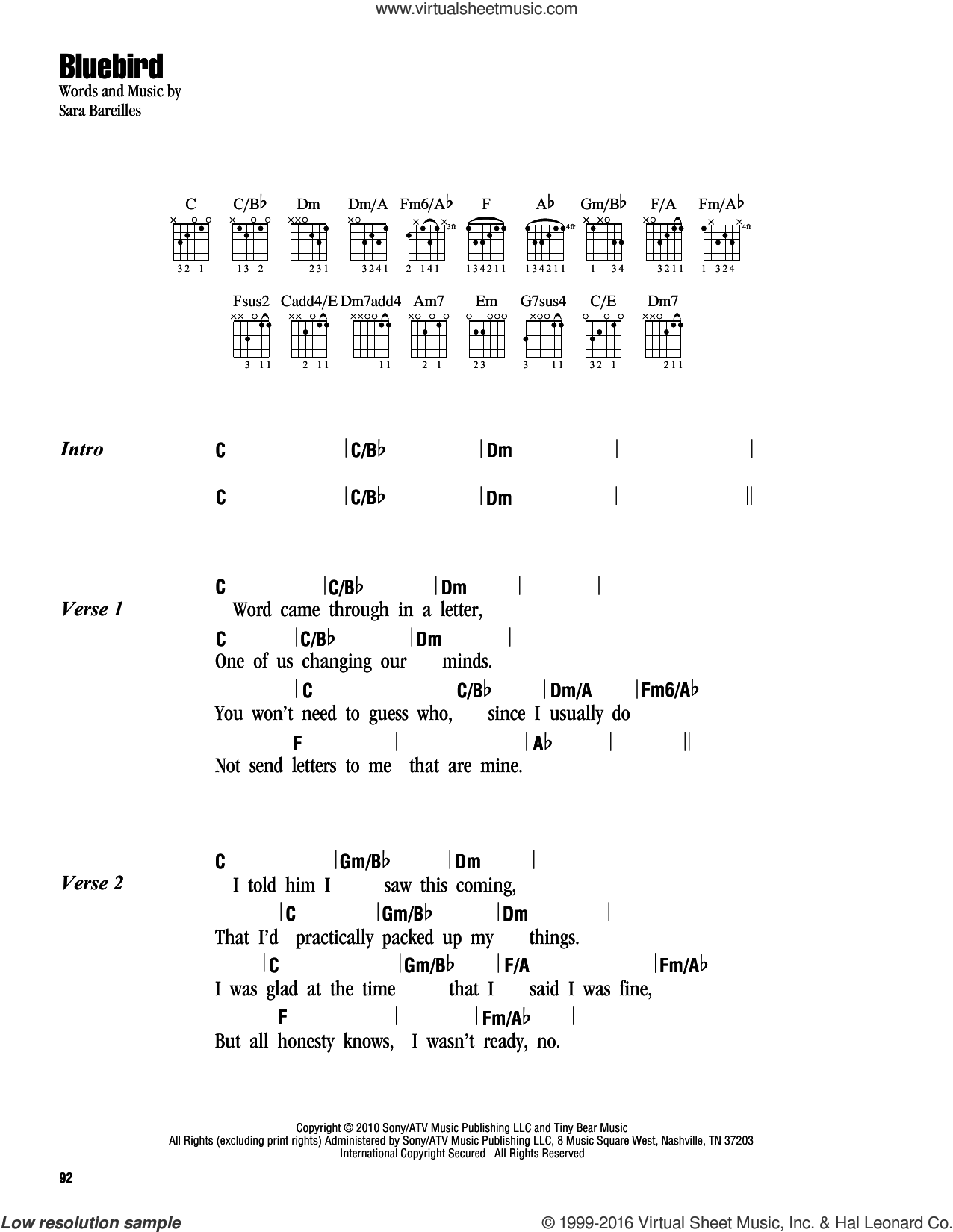 Bluebird sheet music for guitar (chords) by Sara Bareilles. Score Image Preview.