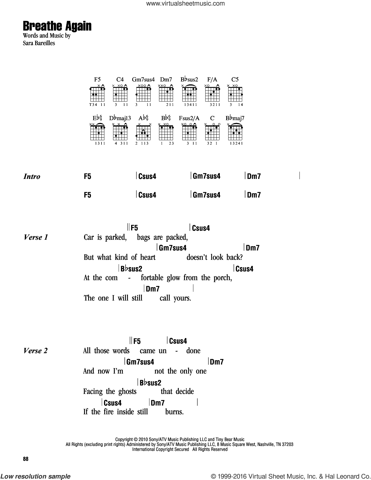 Breathe Again sheet music for guitar (chords) by Sara Bareilles. Score Image Preview.