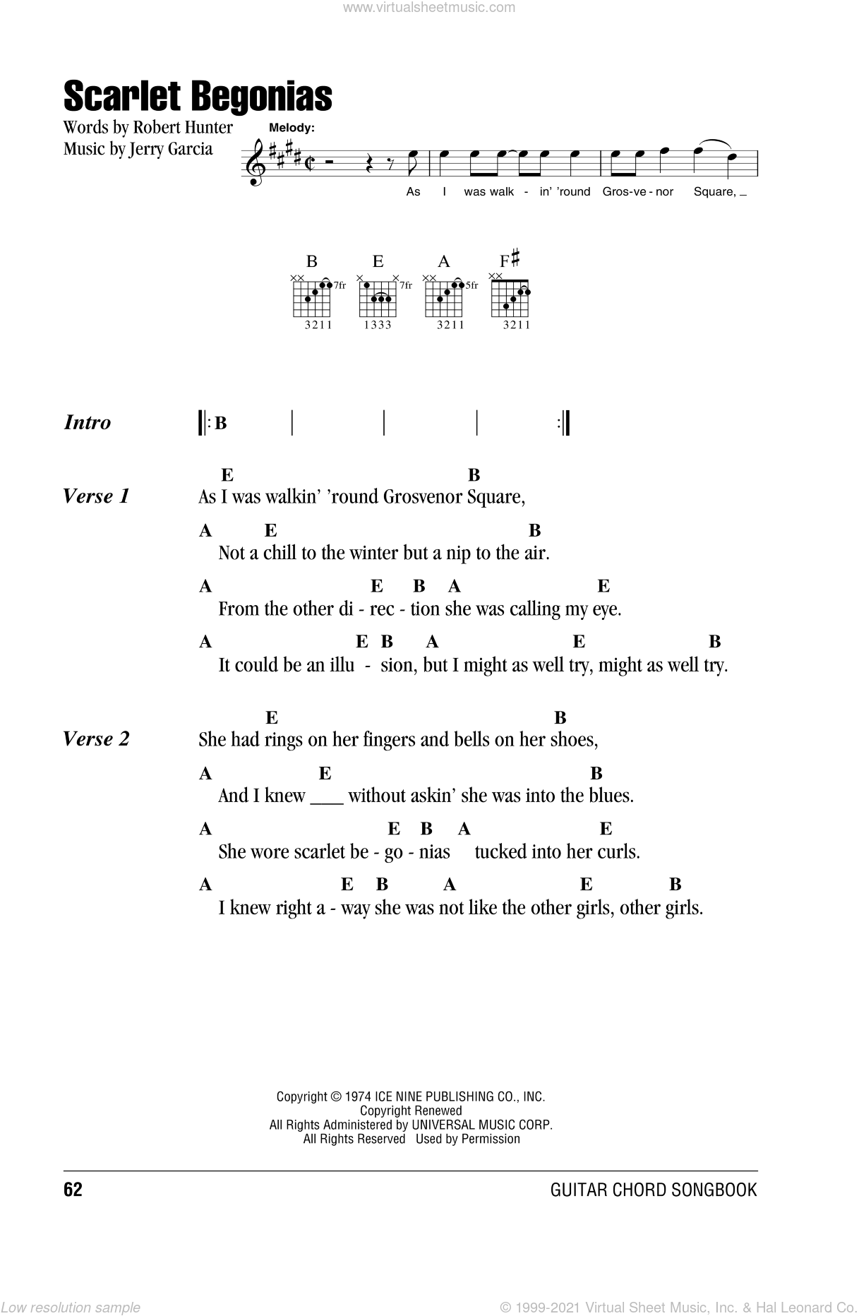 Dead Scarlet Begonias Sheet Music For Guitar Chords Pdf