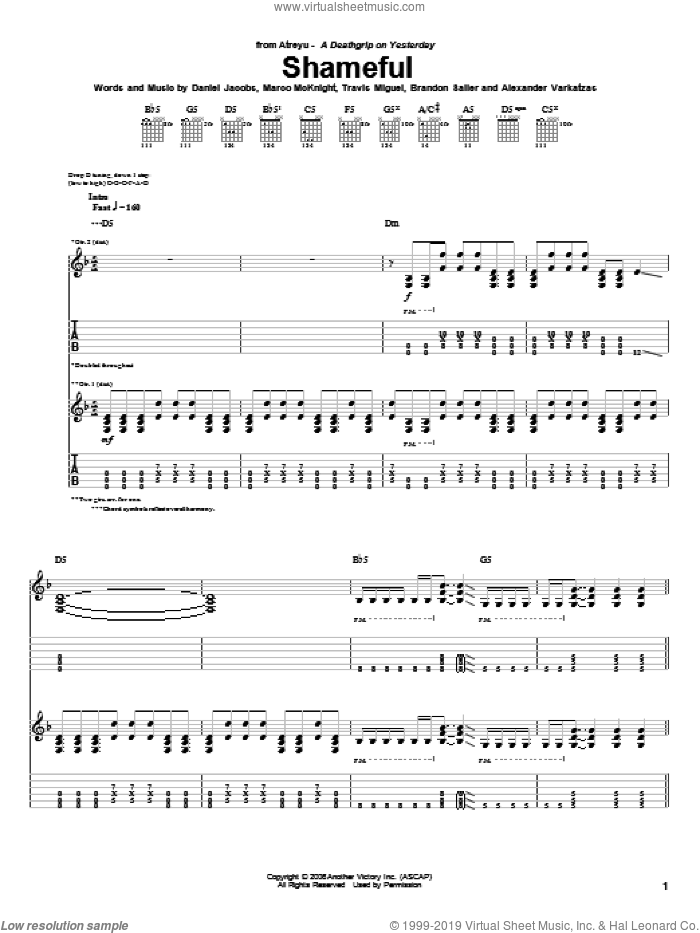 Shameful sheet music for guitar (tablature) by Atreyu, Alexander Varkatzas, Brandon Saller, Daniel Jacobs, Marco McKnight and Travis Miguel, intermediate skill level