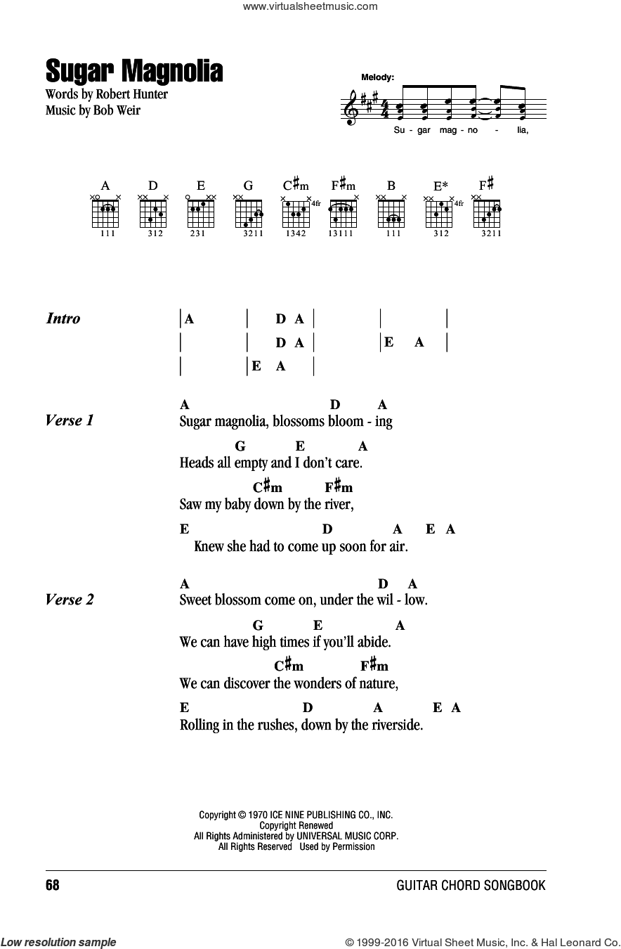 Sugar Magnolia sheet music for guitar (chords) by Grateful Dead, intermediate. Score Image Preview.
