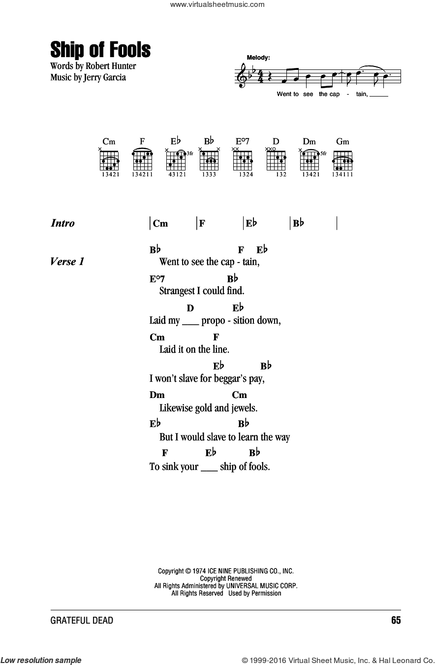 Ship Of Fools sheet music for guitar (chords) by Grateful Dead. Score Image Preview.