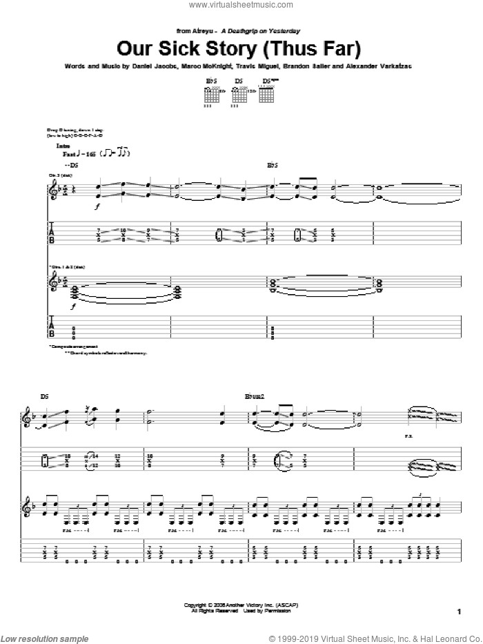 Our Sick Story (Thus Far) sheet music for guitar (tablature) by Atreyu, Alexander Varkatzas, Brandon Saller, Daniel Jacobs, Marco McKnight and Travis Miguel, intermediate skill level