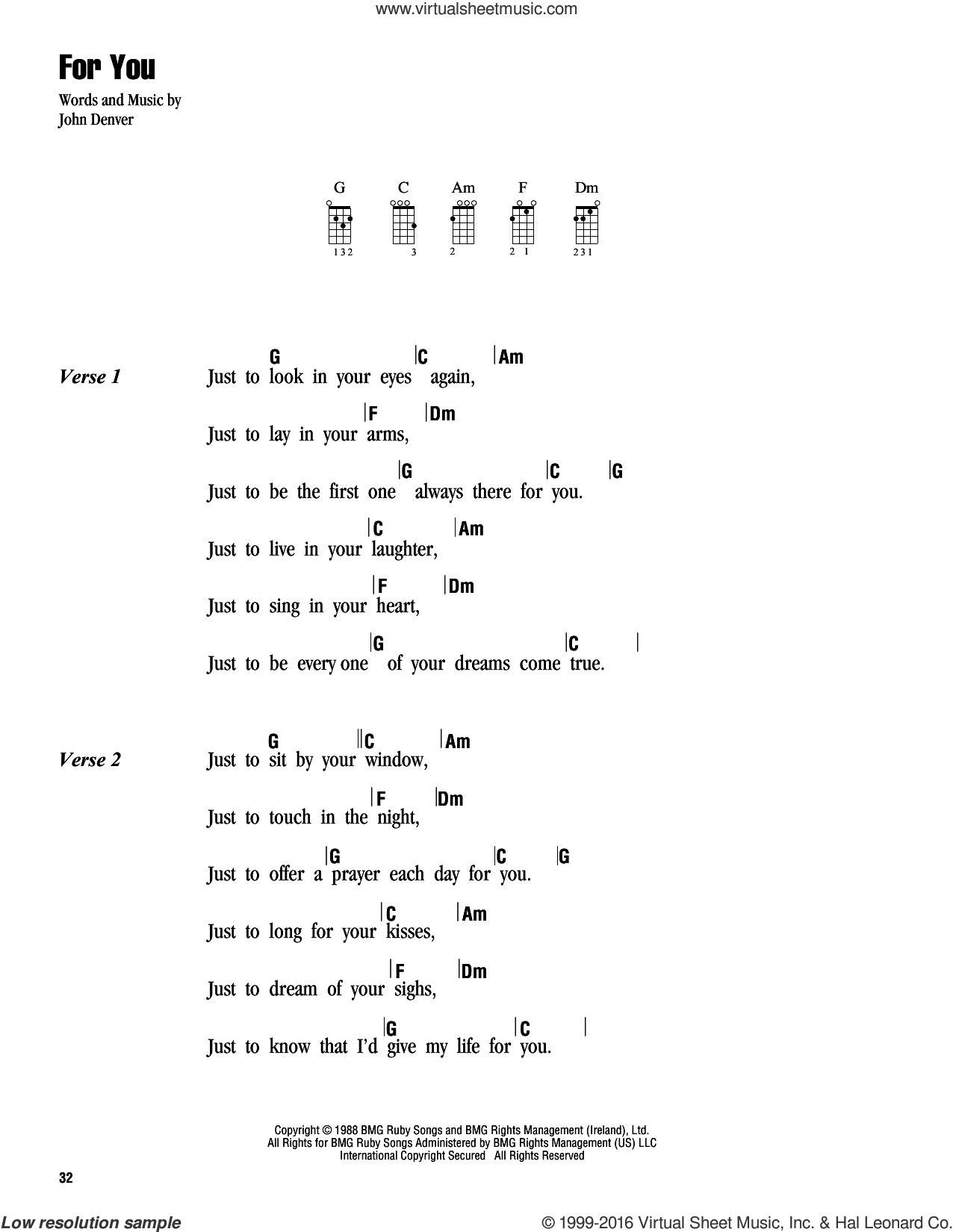 For You sheet music for ukulele (chords) by John Denver, intermediate. Score Image Preview.