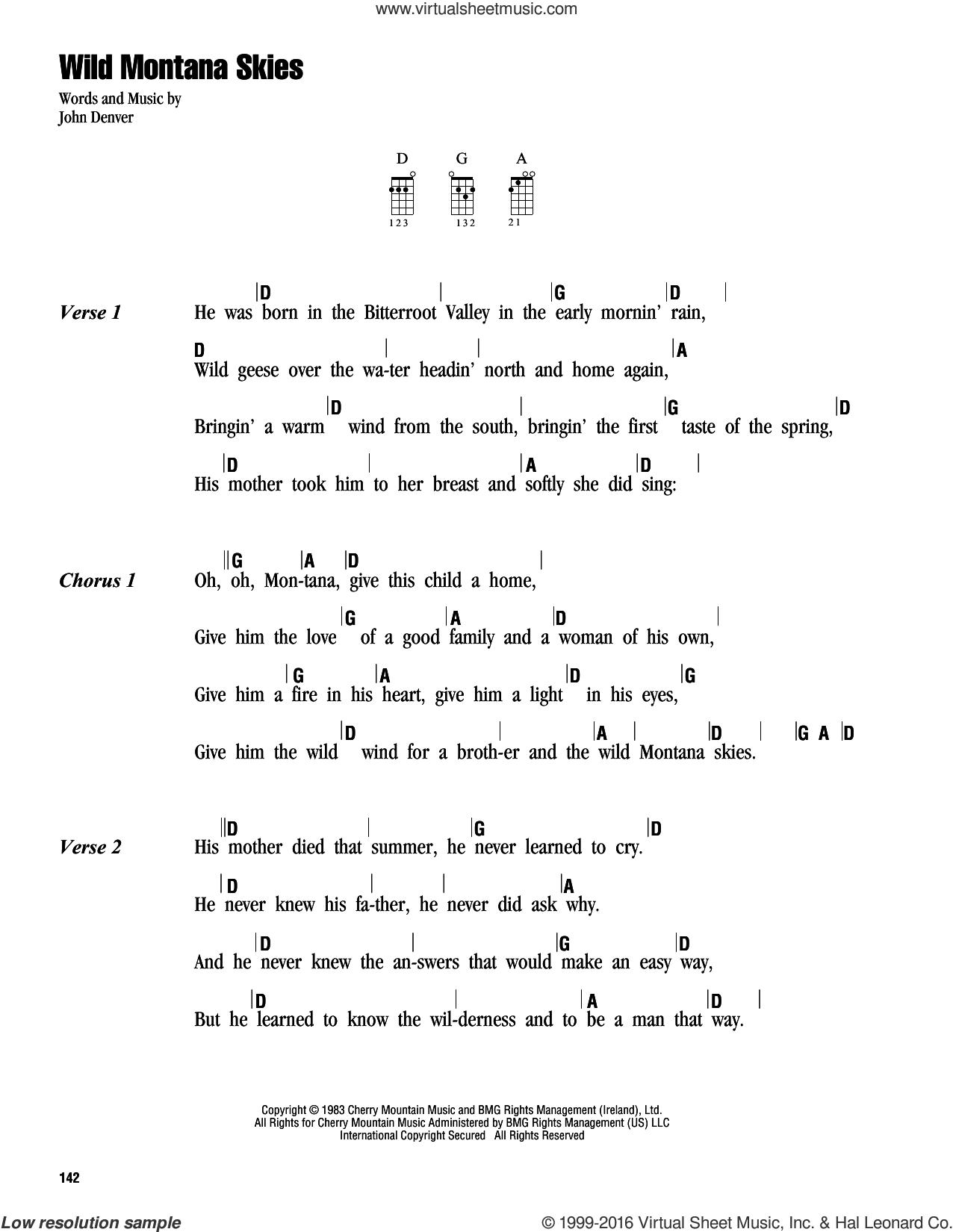 Wild Montana Skies sheet music for ukulele (chords) by John Denver, intermediate skill level