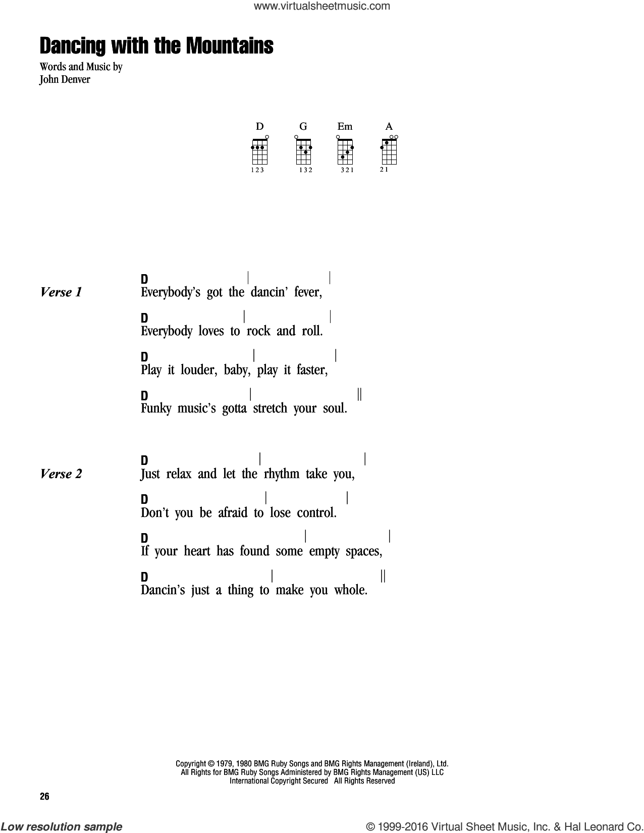 Dancing With The Mountains sheet music for ukulele (chords) by John Denver. Score Image Preview.