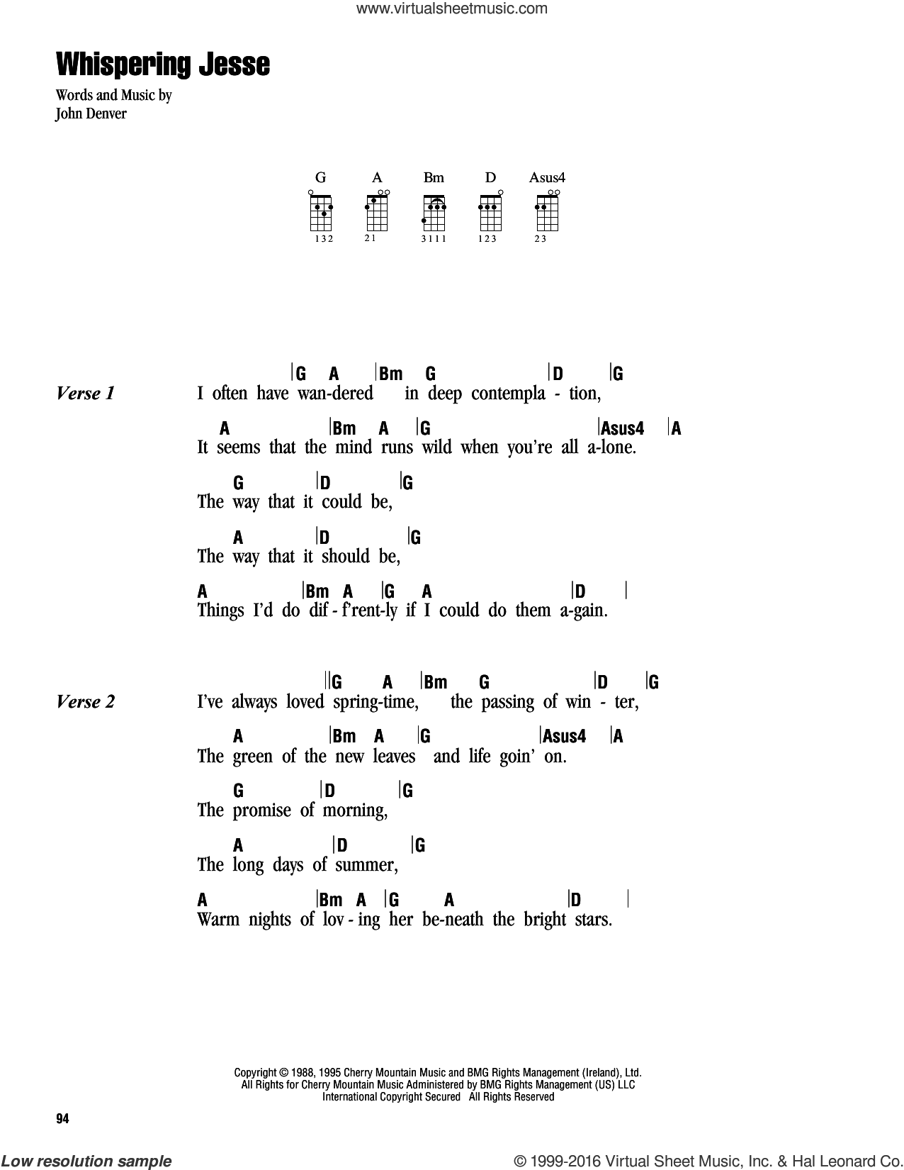 Whispering Jesse sheet music for ukulele (chords) by John Denver, intermediate. Score Image Preview.