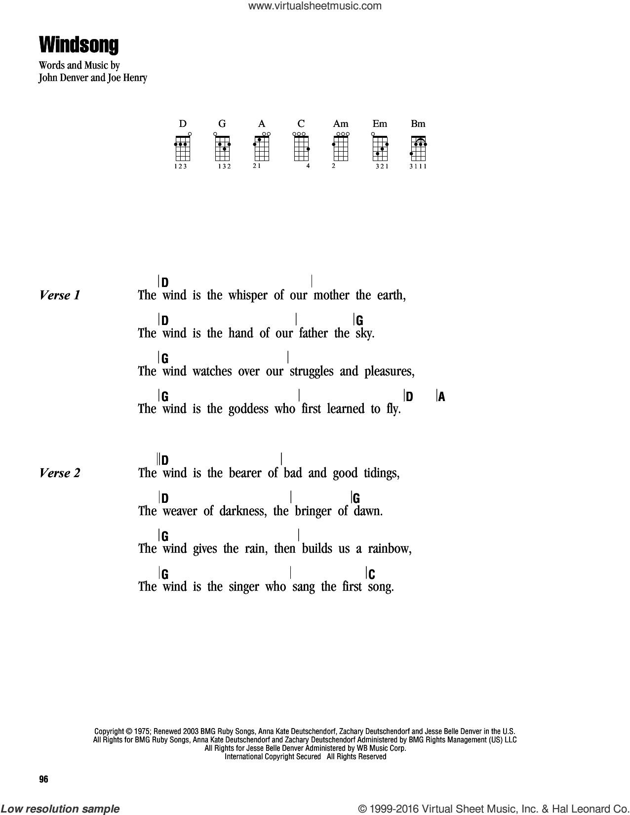 Windsong sheet music for ukulele (chords) by John Denver and Joe Henry, intermediate. Score Image Preview.