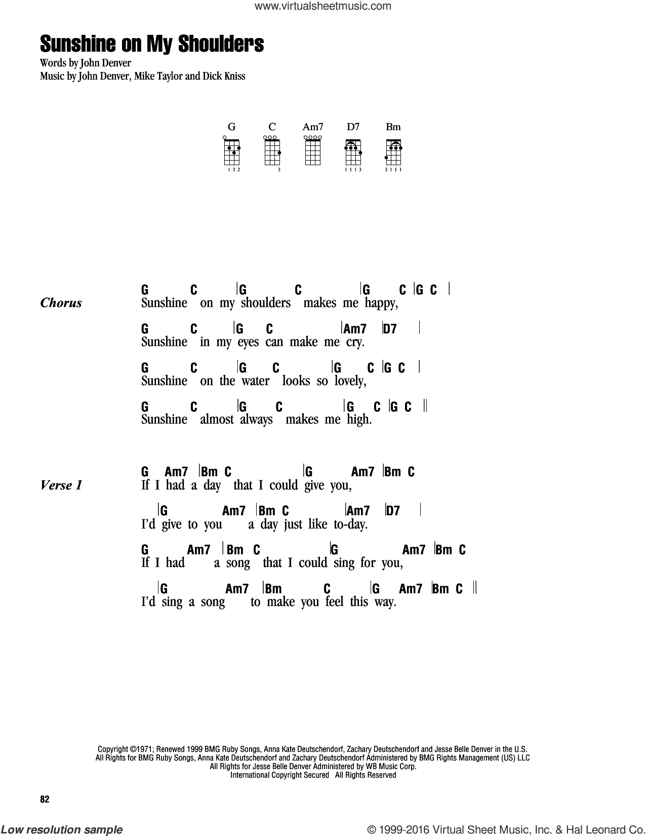Sunshine On My Shoulders sheet music for ukulele (chords) by John Denver, Dick Kniss and Mike Taylor, intermediate skill level