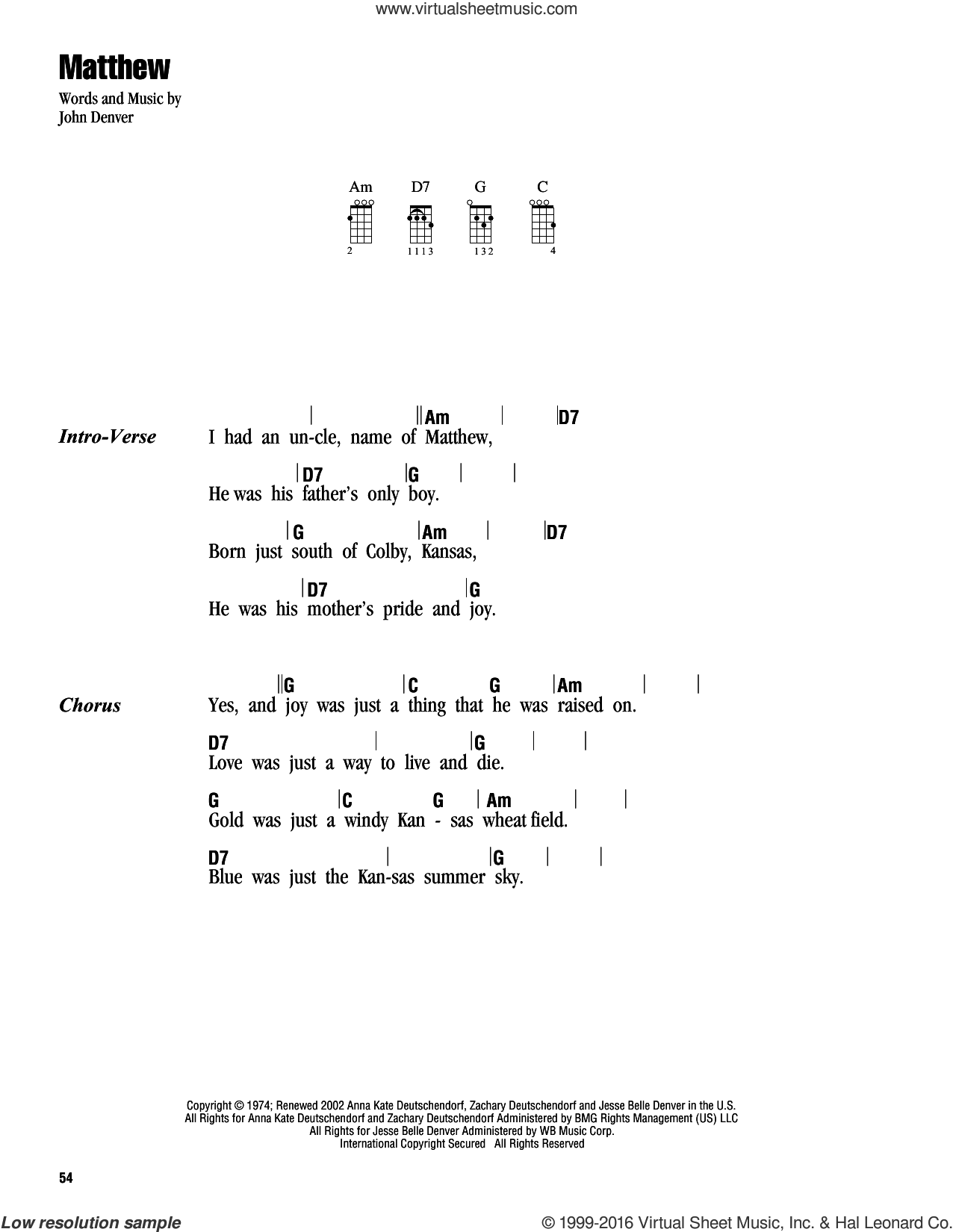 Matthew sheet music for ukulele (chords) by John Denver, intermediate
