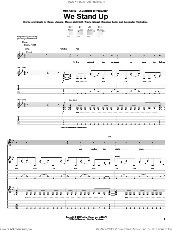 We Stand Up sheet music for guitar (tablature) by Atreyu, Alexander Varkatzas, Brandon Saller, Daniel Jacobs, Marco McKnight and Travis Miguel, intermediate skill level