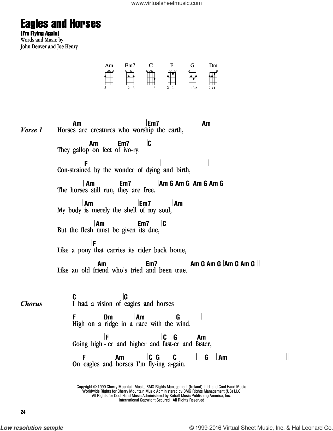 Eagles And Horses (I'm Flying Again) sheet music for ukulele (chords) by John Denver and Joe Henry, intermediate. Score Image Preview.